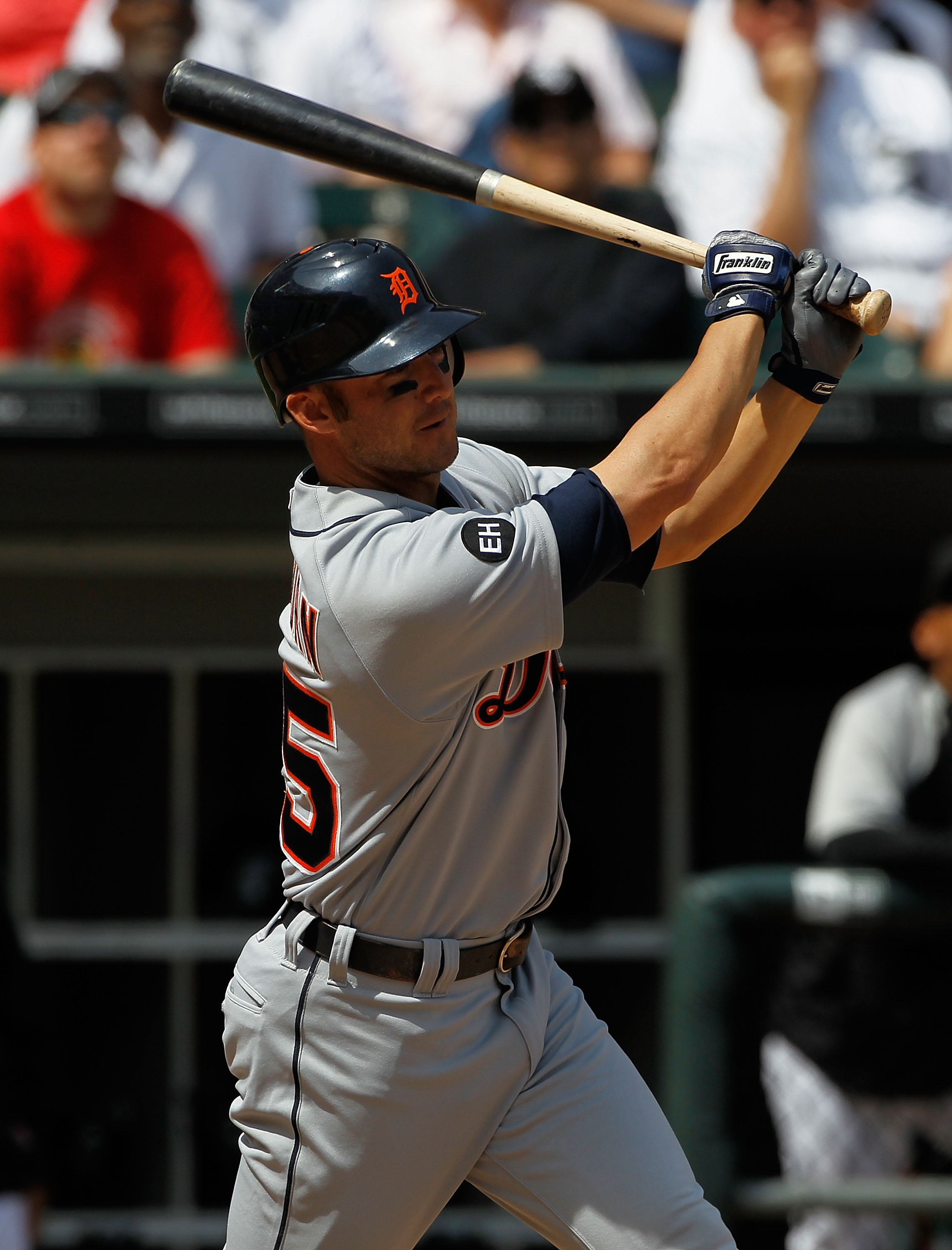 CHICAGO - JUNE 10: Ryan Raburn #25 of the Detriot Tigers takes a swing against the Chicago White Sox at U.S. Cellular Field on June 10, 2010 in Chicago, Illinois. The White Sox defeated the Tigers 3-0.  (Photo by Jonathan Daniel/Getty Images)