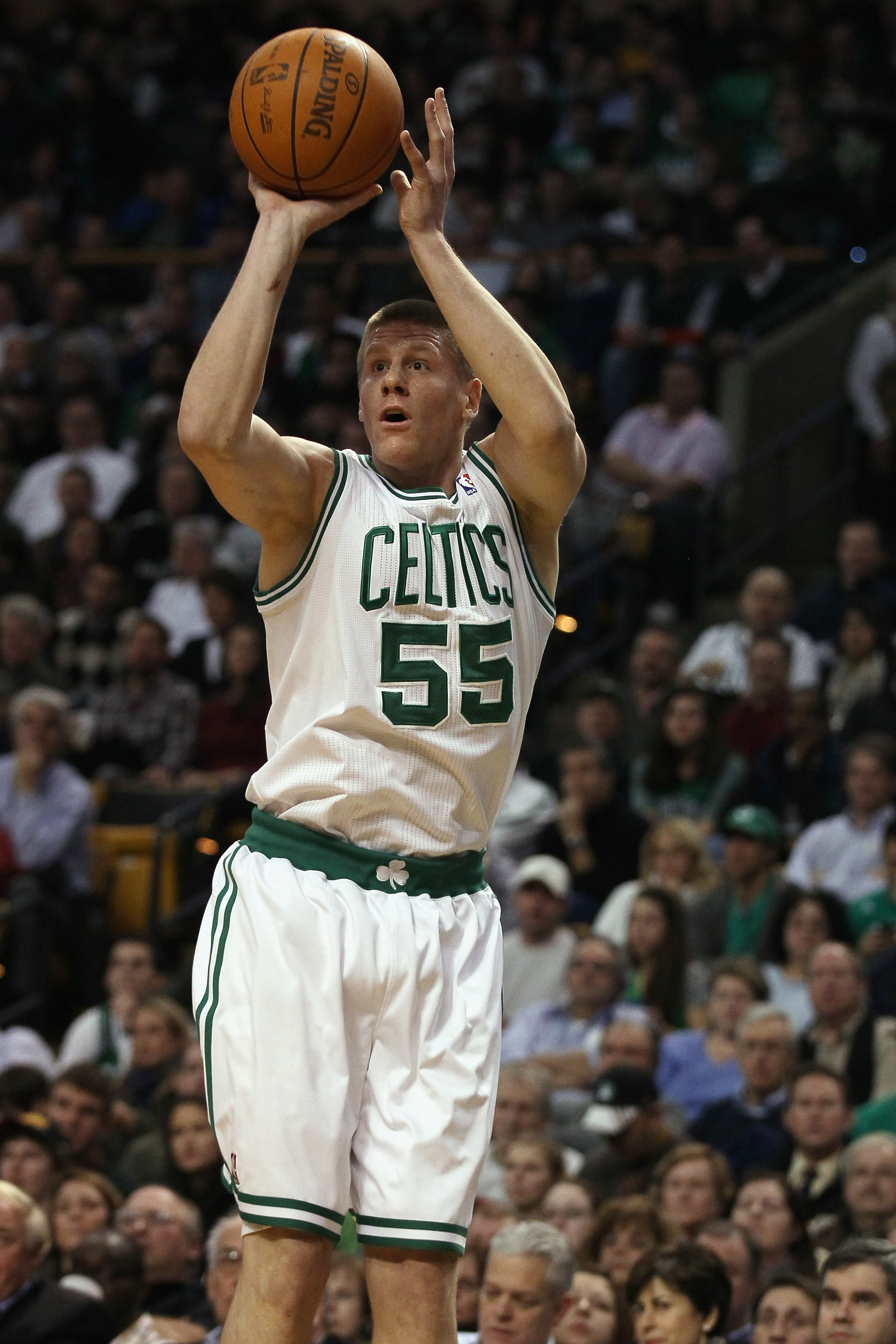 BOSTON, MA - DECEMBER 16:  Luke Harangody #55  of the Boston Celtics takes a shot in the first half against the Atlanta Hawks on December 16, 2010 at the TD Garden in Boston, Massachusetts. NOTE TO USER: User expressly acknowledges and agrees that, by dow