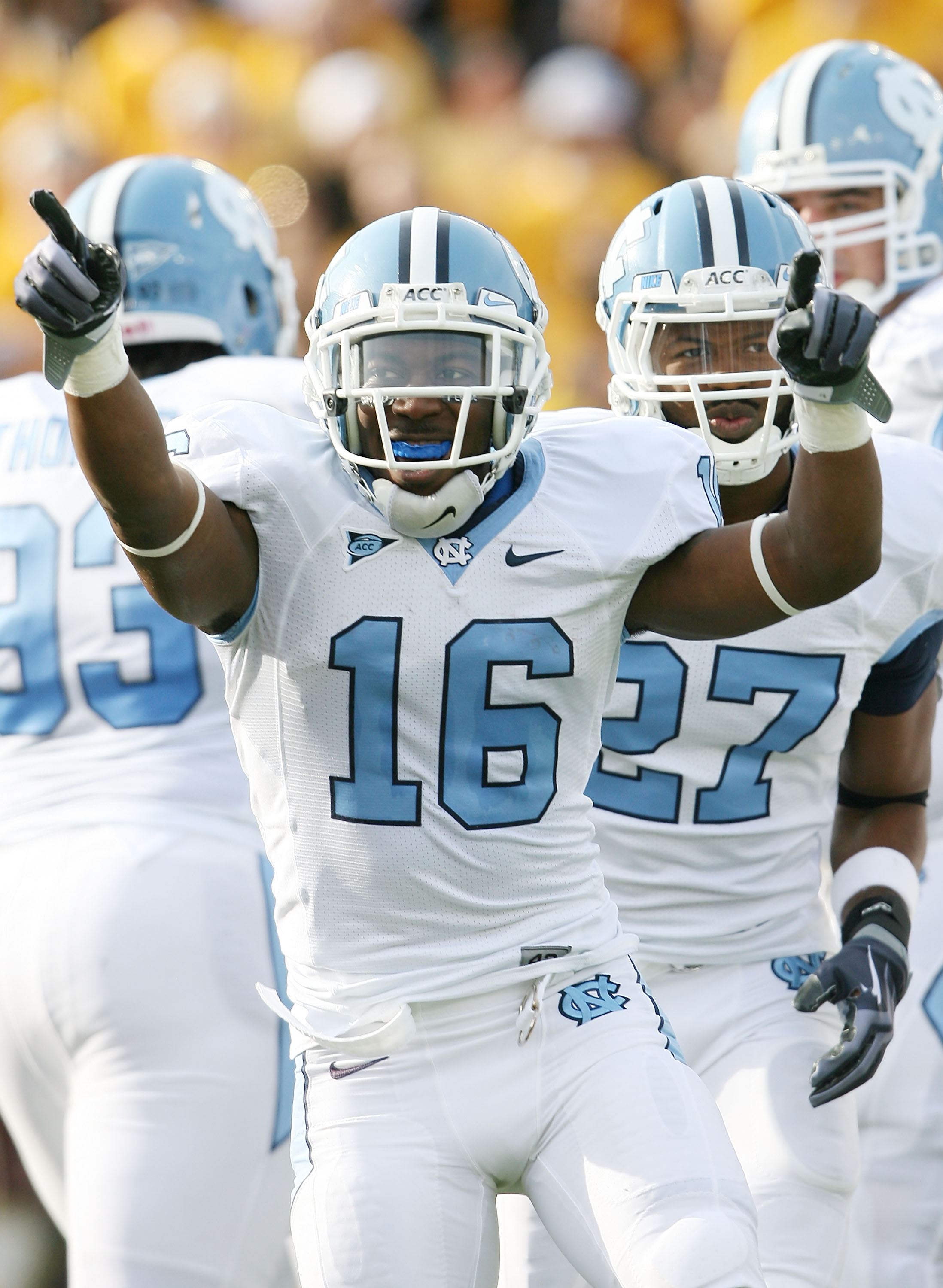 CHESTNUT HILL, MA - NOVEMBER 21:  Kendric Burney #16 of the North Carolina Tar Heels celebrates his touchdown in the first quarter against the Boston College Eagles on November 21, 2009 at Alumni Stadium in Chestnut Hill, Massachusetts.  (Photo by Elsa/Ge