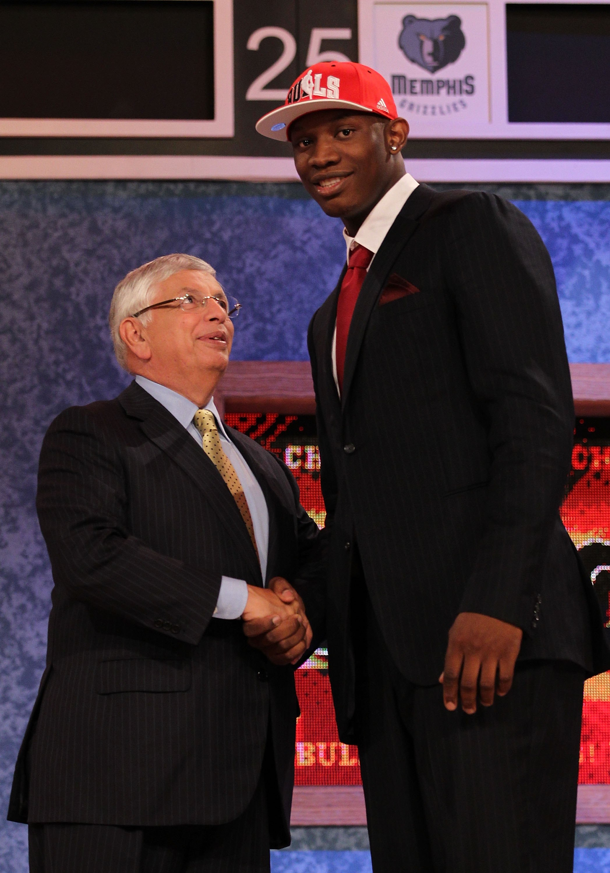 NEW YORK - JUNE 24:  Kevin Seraphin stands with NBA Commisioner David Stern after being drafted seventeenth by  The Chicago Bulls at Madison Square Garden on June 24, 2010 in New York, New York.  (Photo by Al Bello/Getty Images)