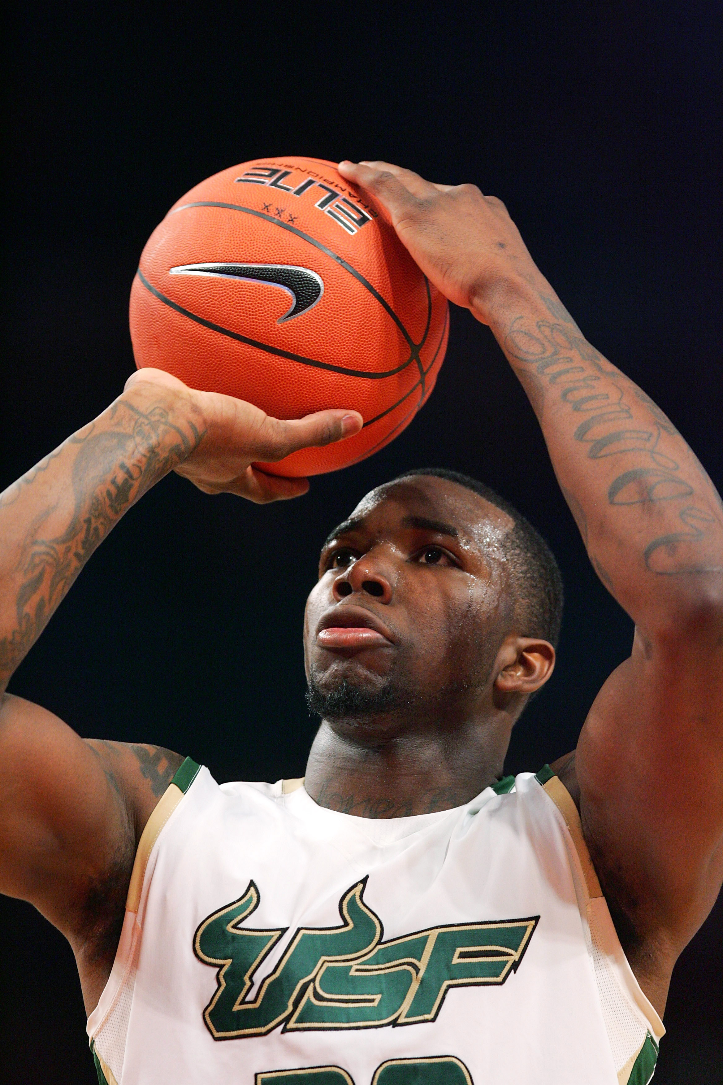NEW YORK - MARCH 09:  Dominique Jones #20 of the University of South Florida shoots a free throw against DePaul University during the first round game of the Big East Basketball Tournament at Madison Square Garden on March 9, 2010 in New York City.  (Phot