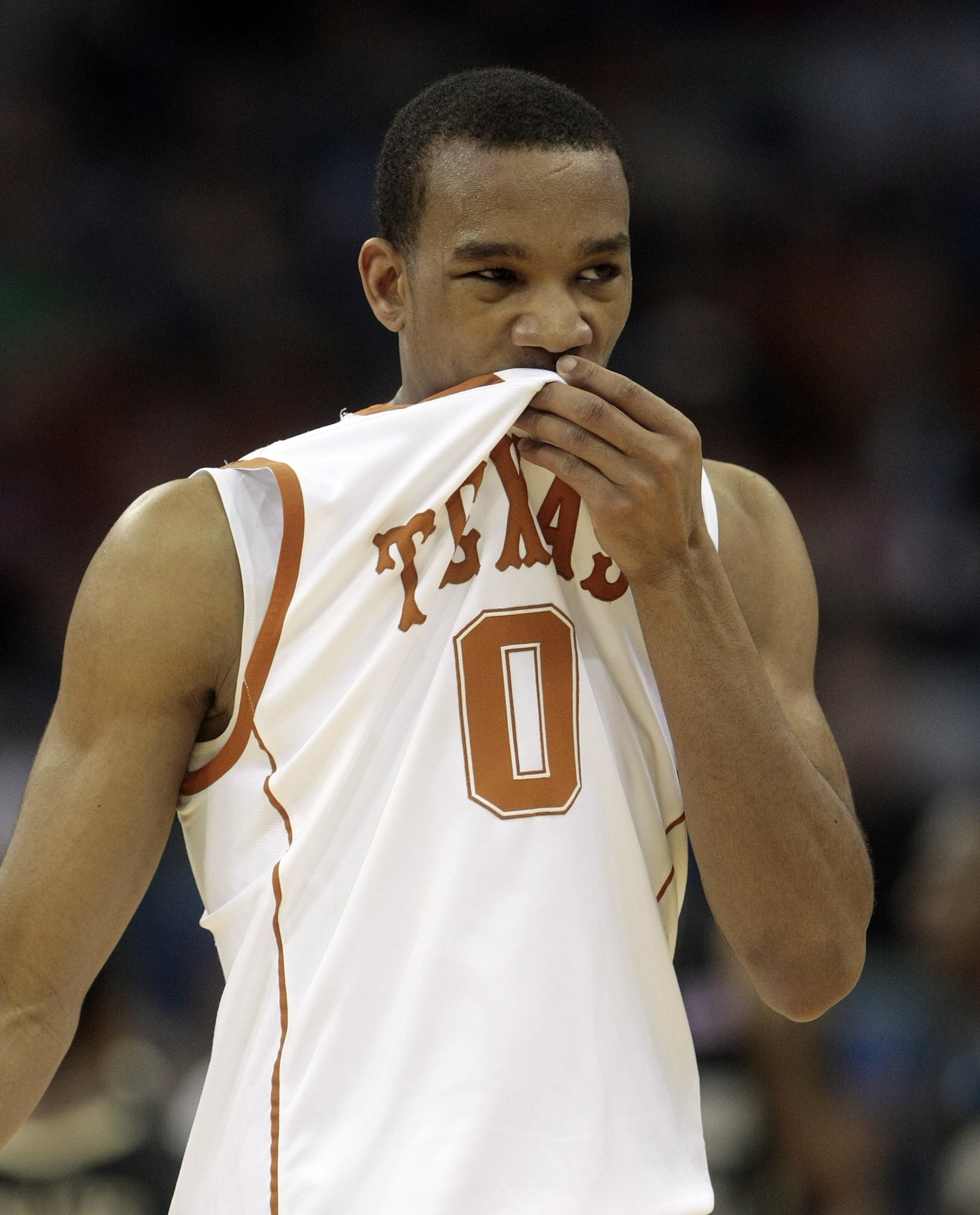 NEW ORLEANS - MARCH 18:  Avery Bradley #0 of the Texas Longhorns reacts near the end of an 81-80 overtime loss to the Wake Forest Demon Deacons during the first round of the 2010 NCAA mens basketball tournament at the New Orleans Arena on March 18, 2010 i