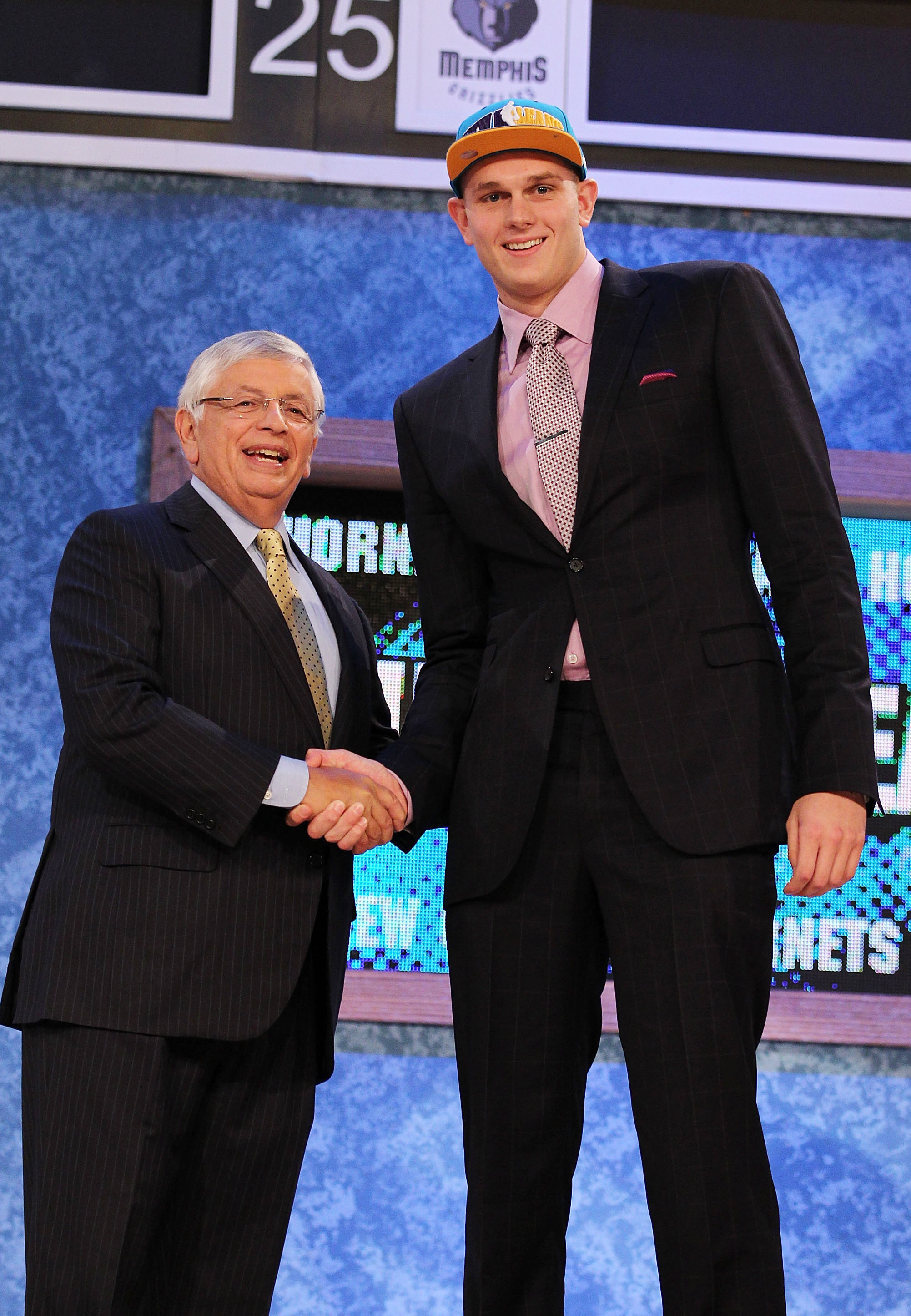 NEW YORK - JUNE 24:  Cole Aldrich stands with NBA Commisioner David Stern after being drafted eleventh by  The New Orleans Hornets at Madison Square Garden on June 24, 2010 in New York City.  NOTE TO USER: User expressly acknowledges and agrees that, by d