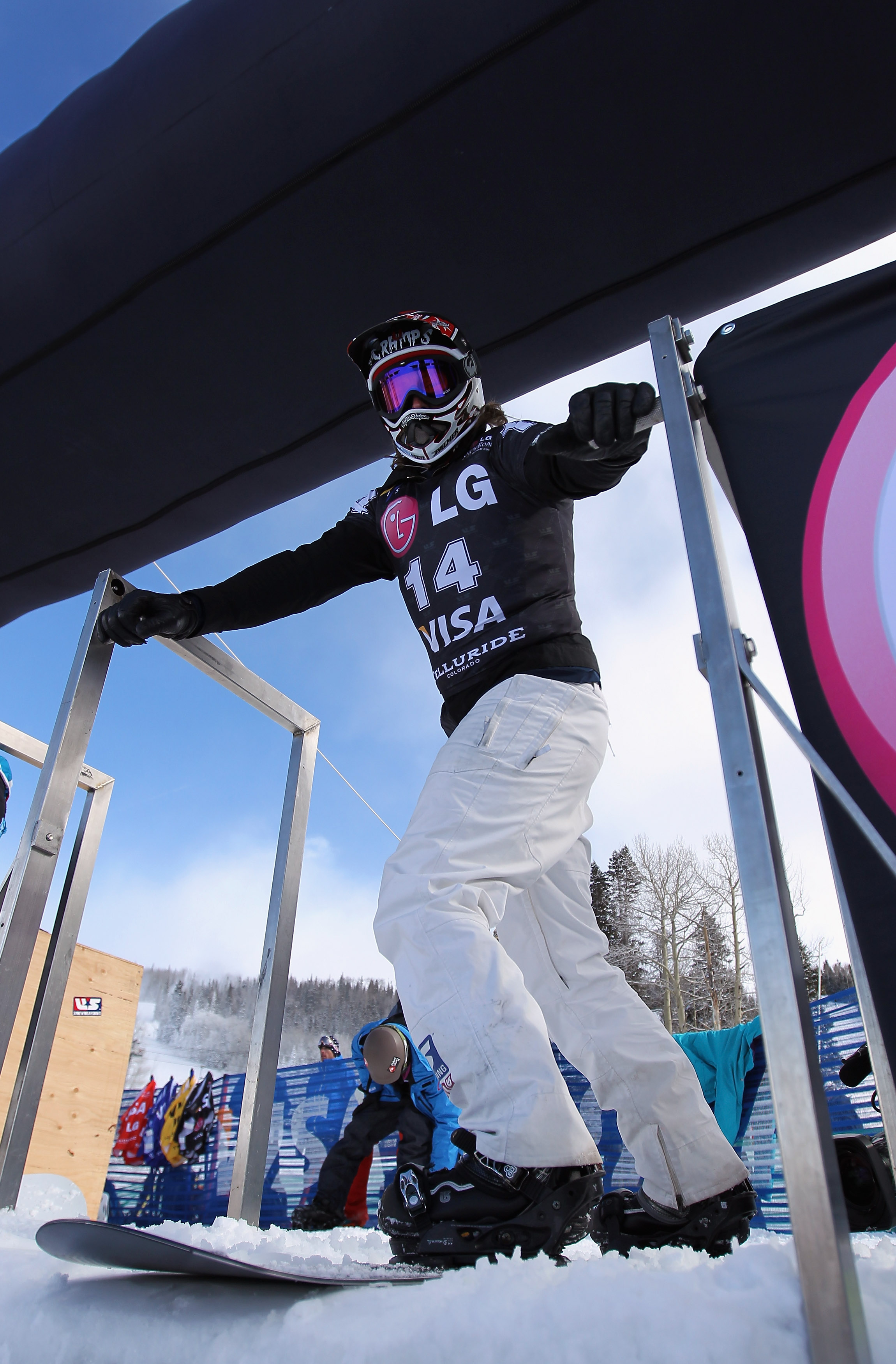 TELLURIDE, CO - DECEMBER 17:  Shaun Palmer of the USA takes to the gate for inspection before the Snowboard Cross at the LG Snowboard FIS World Cup on December 17, 2010 in Telluride, Colorado.  (Photo by Doug Pensinger/Getty Images)