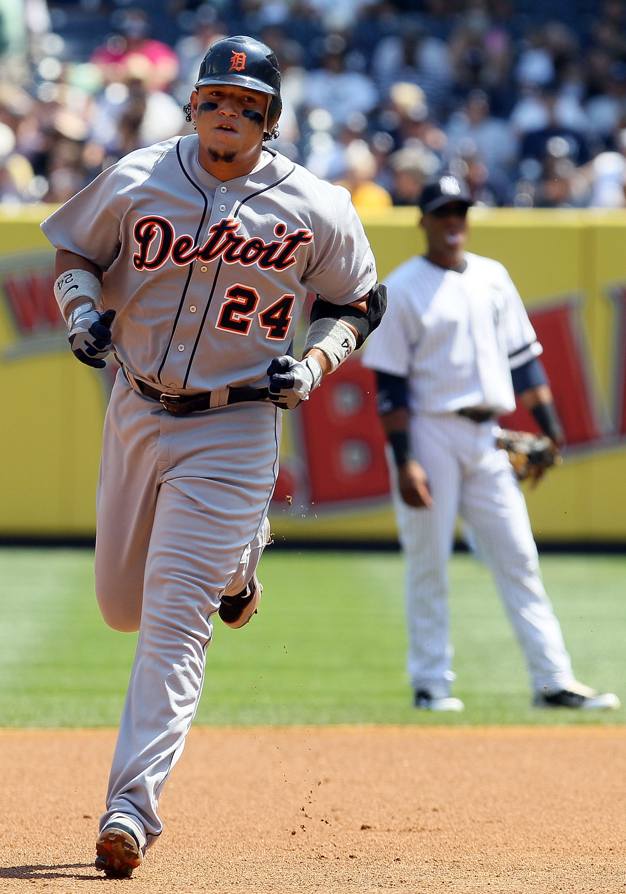 NEW YORK - AUGUST 19:  Miguel Cabrera #24 of the Detroit Tigers runs the bases after his first inning two run home run against the New York Yankees on August 19, 2010 at Yankee Stadium in the Bronx borough of New York City.  (Photo by Jim McIsaac/Getty Im