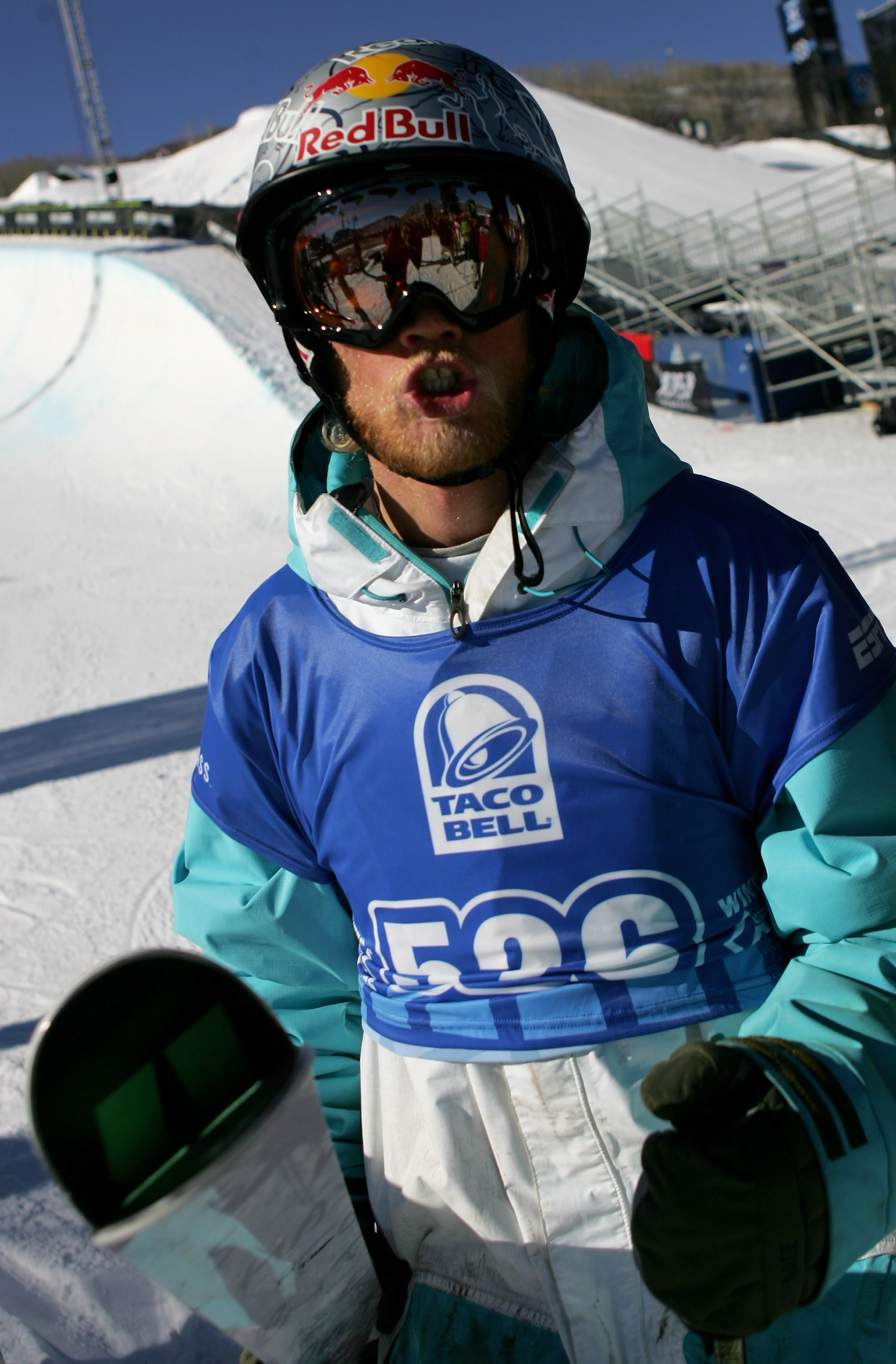 ASPEN, CO - JANUARY 25:  Tanner Hall of Kalispell, Montana leaves the pipe after competing in the Skiing Superpipe Men's Elimination at the ESPN Winter X Games 11 on January 25, 2007 in Aspen, Colorado.  (Photo by Doug Pensinger/Getty Images)