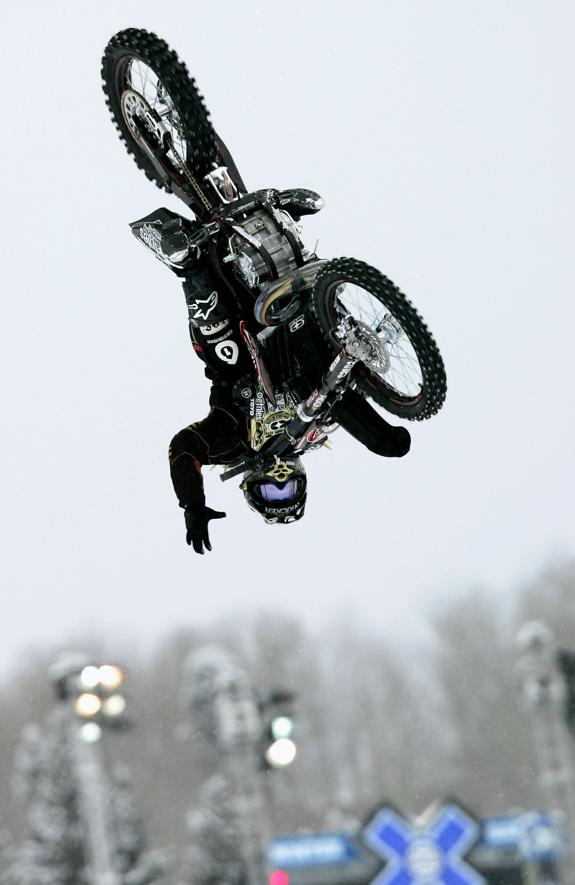 ASPEN, CO - JANUARY 29:  Brian Deegan of Temecula, California takes his second run in the preliminaries as he finished fourth to advance to the finals in the Moto X Best Trick at Winter X Games 10 on January 29, 2006 at Buttermilk Mountain in Aspen, Color
