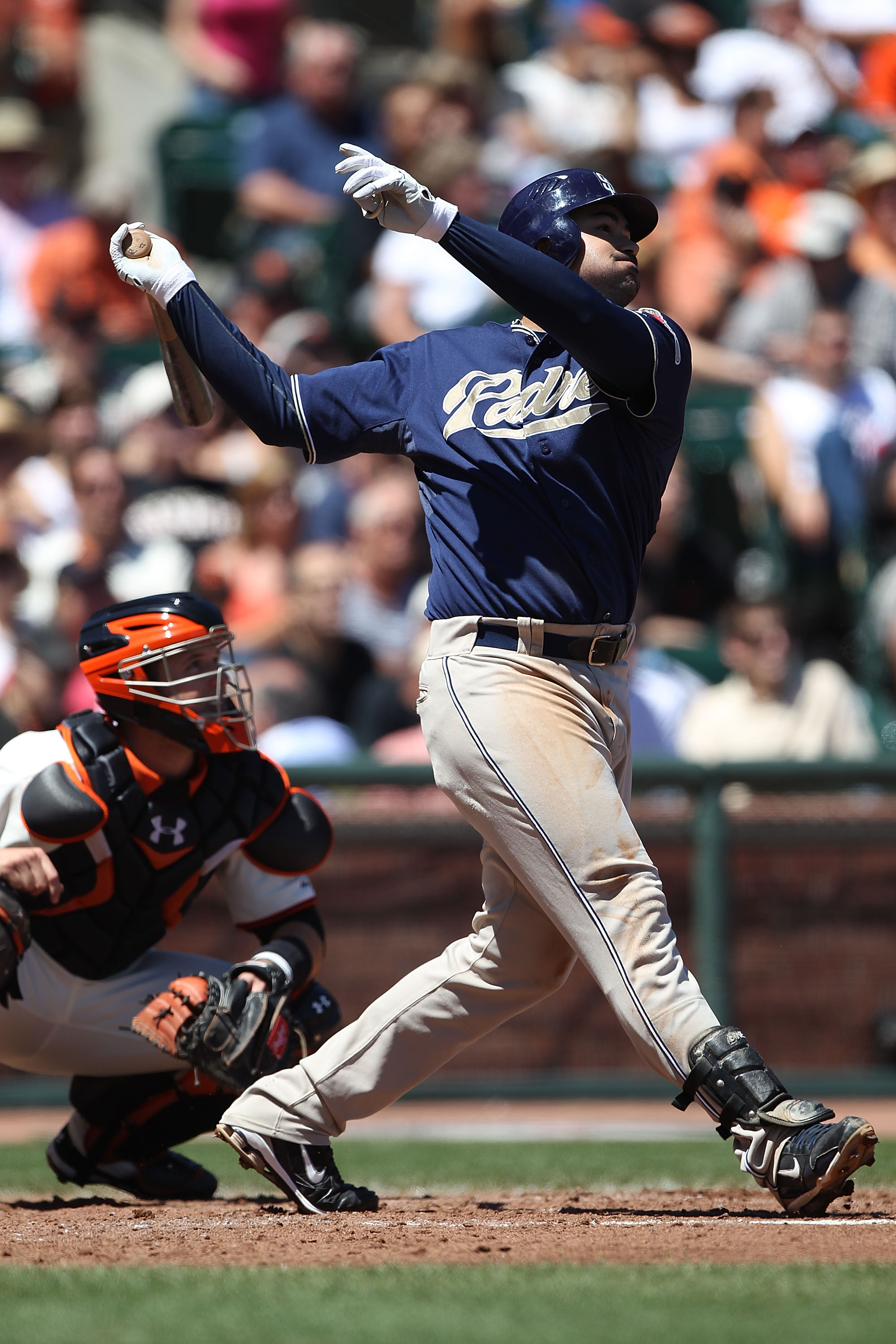 SAN FRANCISCO - AUGUST 14:  Adrian Gonzalez #23 of the San Diego Padres bats against the San Francisco Giants during an MLB game at AT&T Park on August 14, 2010 in San Francisco, California.  (Photo by Jed Jacobsohn/Getty Images)