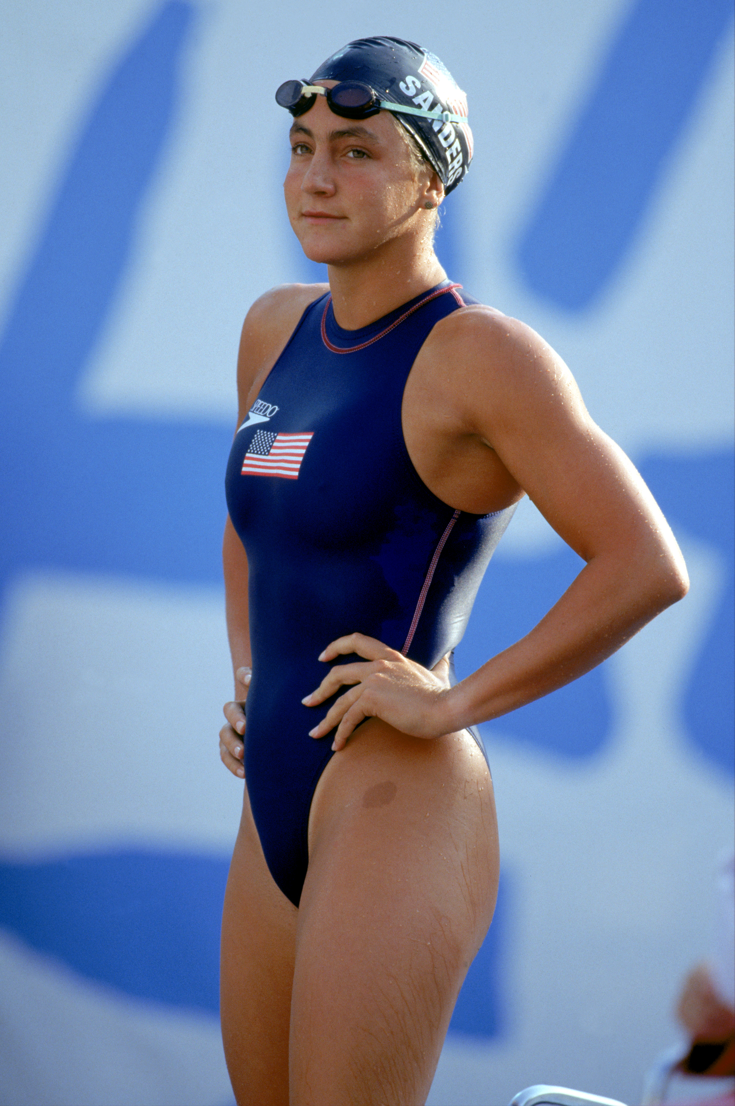 BARCELONA - 1992:  Summer Sanders of the United States look on during the 1992 Summer Olympics in Barcelona, Spain. (Photo by Simon Bruty/Getty Images)