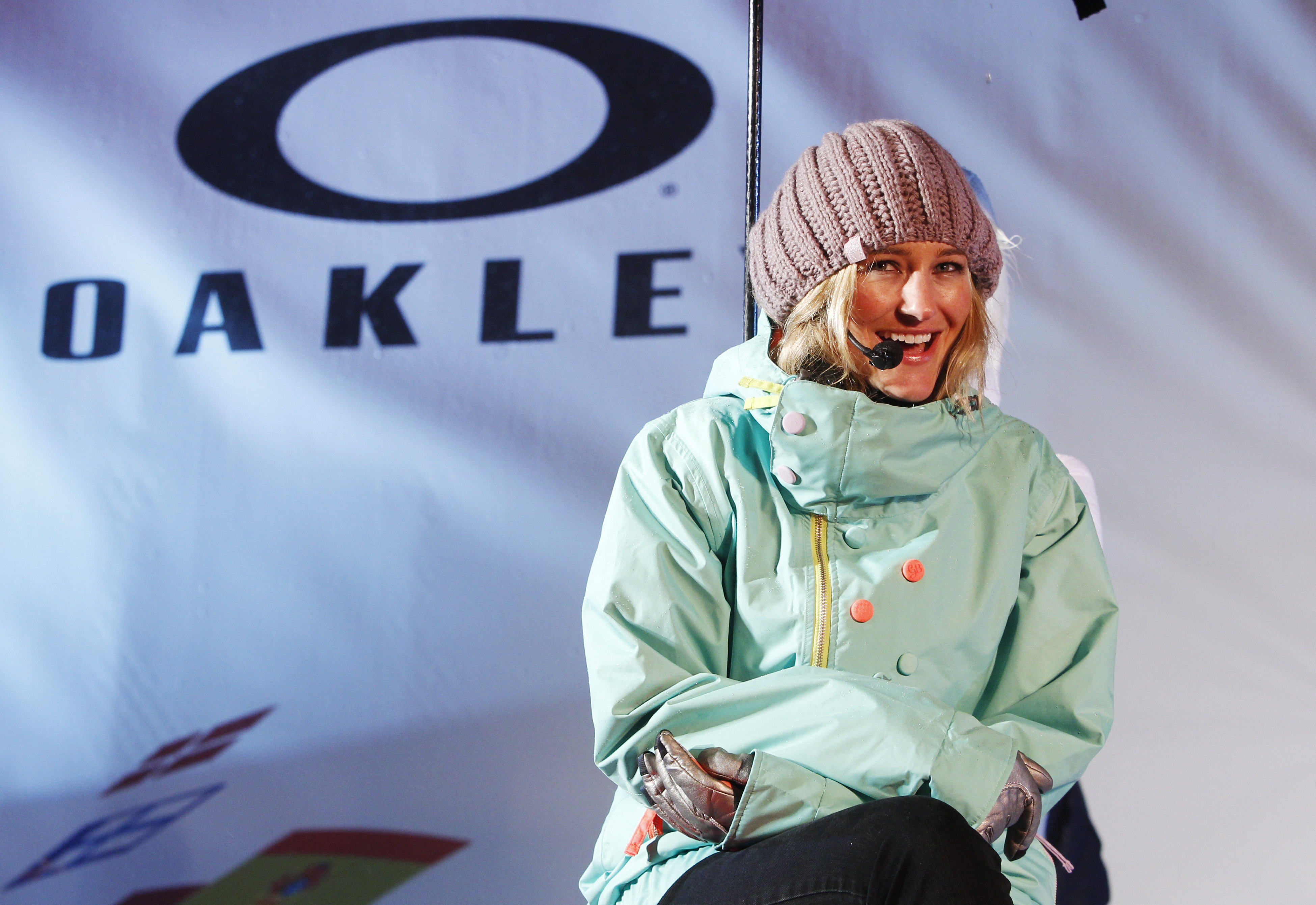 NORTH VANCOUVER, CANADA - FEBRUARY 11:  Gretchen Bleiler of the United States answers questions during an interview at an Oakley media event at Grouse Mountain on February 11, 2010 in North Vancouver, Canada.  (Photo by chris po/Getty Images for Oakley)
