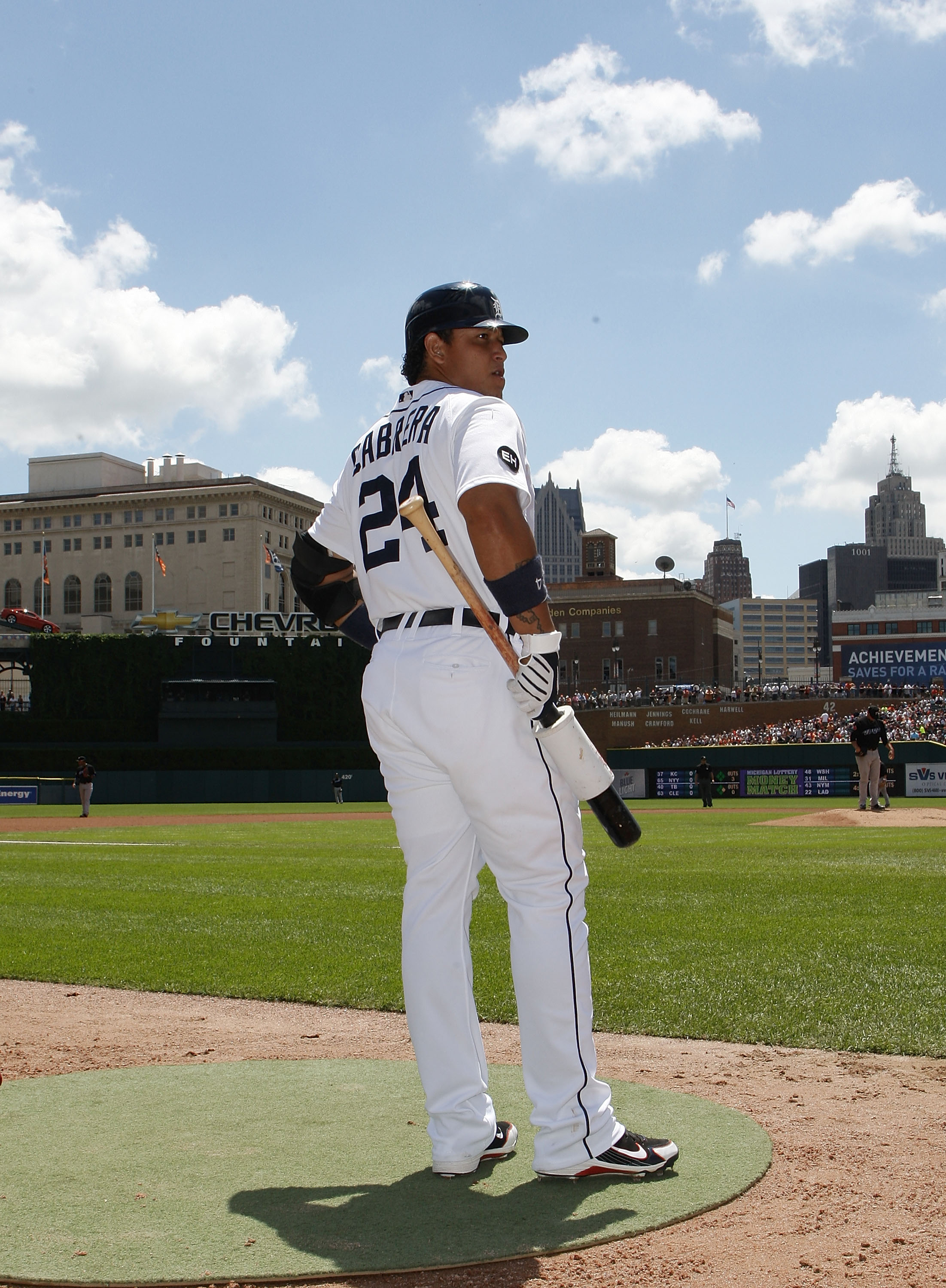 DETROIT - JULY 25: Miguel Cabrera #24 of the Detroit Tigers gets ready to bat during the first inning against the  Toronto Blue Jays on July 25, 2010 at Comerica Park in Detroit, Michigan. The Blue Jays defeated the Tigers 5-3.  (Photo by Leon Halip/Getty