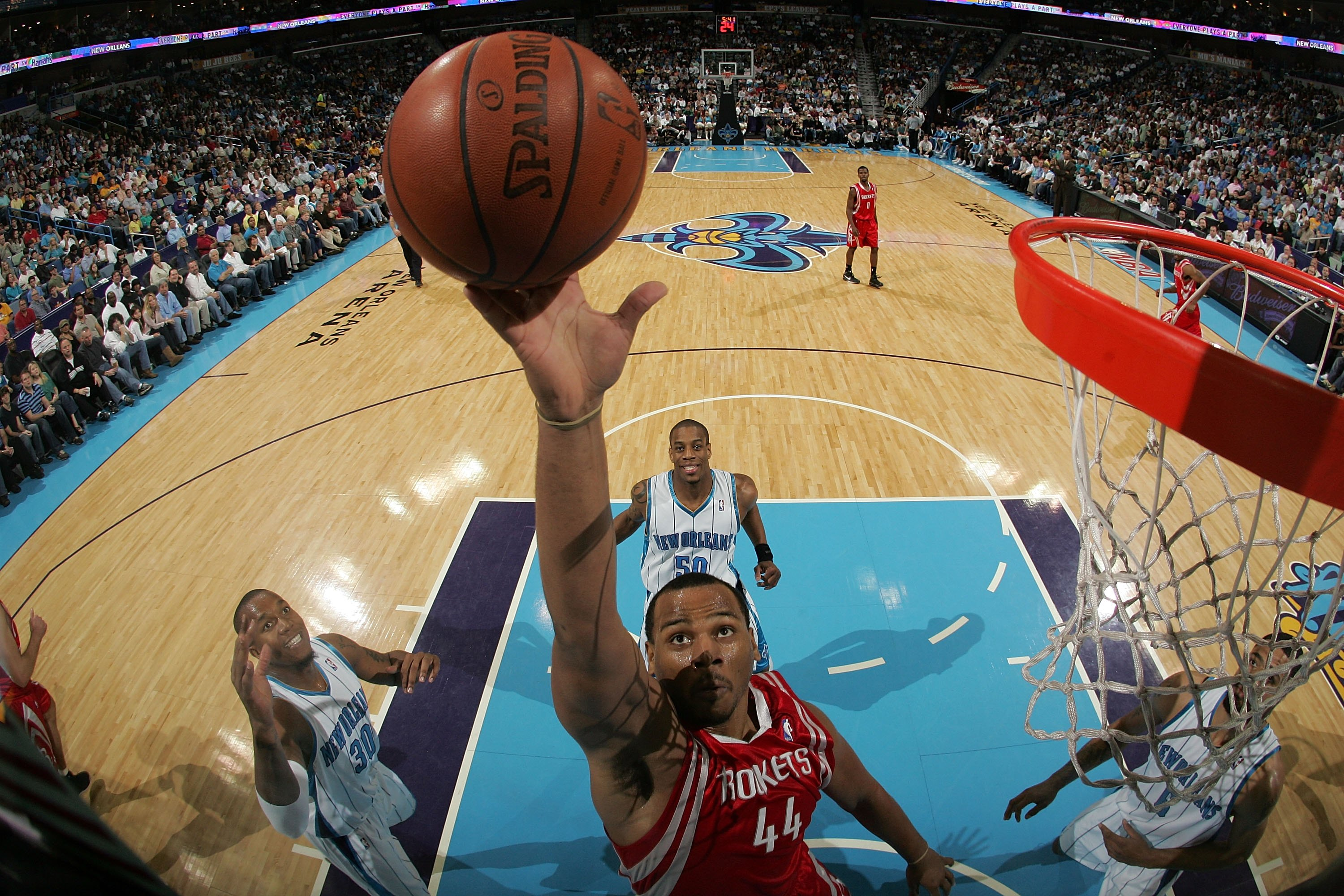 NEW ORLEANS - DECEMBER 26:  Chuck Hayes #44 of the Houston Rockets shoots during the game against the New Orleans Hornets on December 26, 2008 at the New Orleans Arena in New Orleans, Louisiana.  NOTE TO USER: User expressly acknowledges and agrees that,