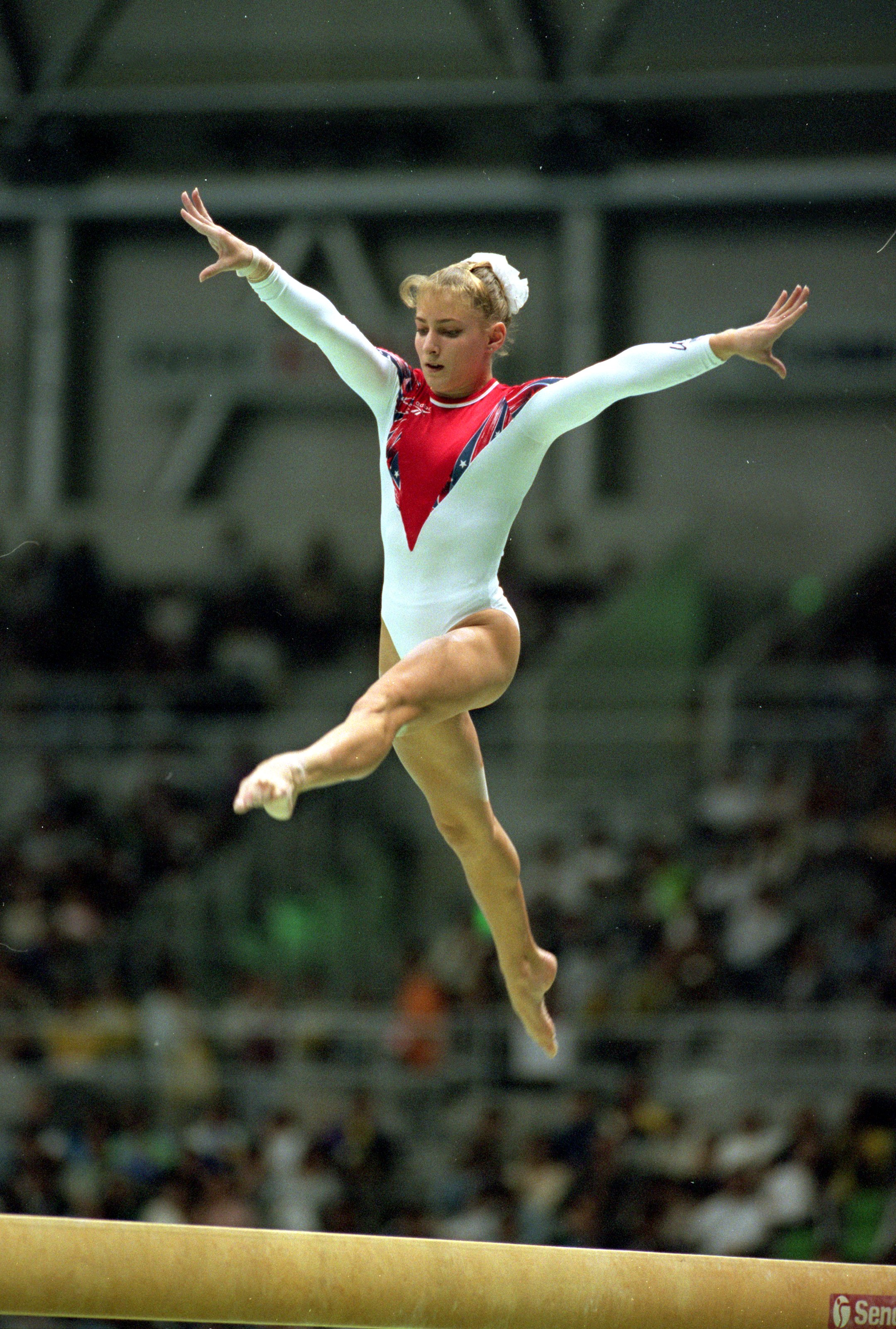 7 Oct 1995: Shannon Miller #222 of the USA jumps on the balance beam during the World Gymnastics Championships in Sabae, Japan. Mandatory Credit: Mike Powell  /Allsport