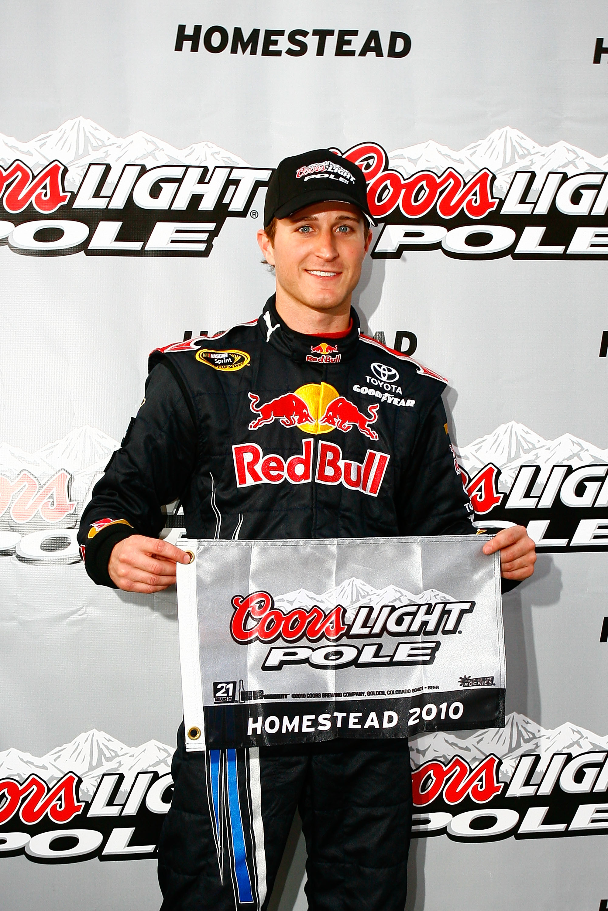 HOMESTEAD, FL - NOVEMBER 19:  Kasey Kahne, driver of the #83 Red Bull Toyota, poses after qualifying for the pole position in the the NASCAR Sprint Cup Series Ford 400 at Homestead-Miami Speedway on November 19, 2010 in Homestead, Florida.  (Photo by Jaso