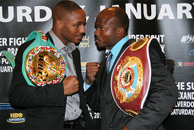 Devon Alexander (left) and Timothy Bradley (right) eyeball each other knowing their major world titles and undefeated records are on the line.