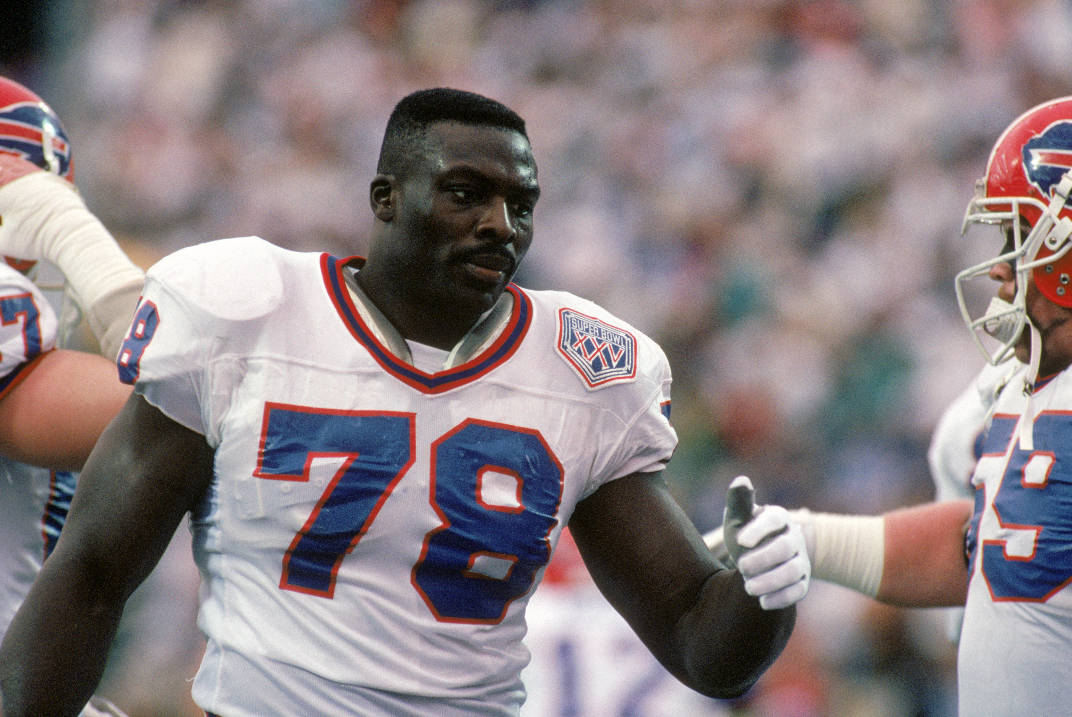 TAMPA, FL - JANUARY 27:  Defensive end Bruce Smith #78 of the Buffalo Bills on the field during Super Bowl XXV against the New York Giants at Tampa Stadium on January 27, 1991 in Tampa, Florida.  The Giants won 20-19.  (Photo by George Rose/Getty Images)