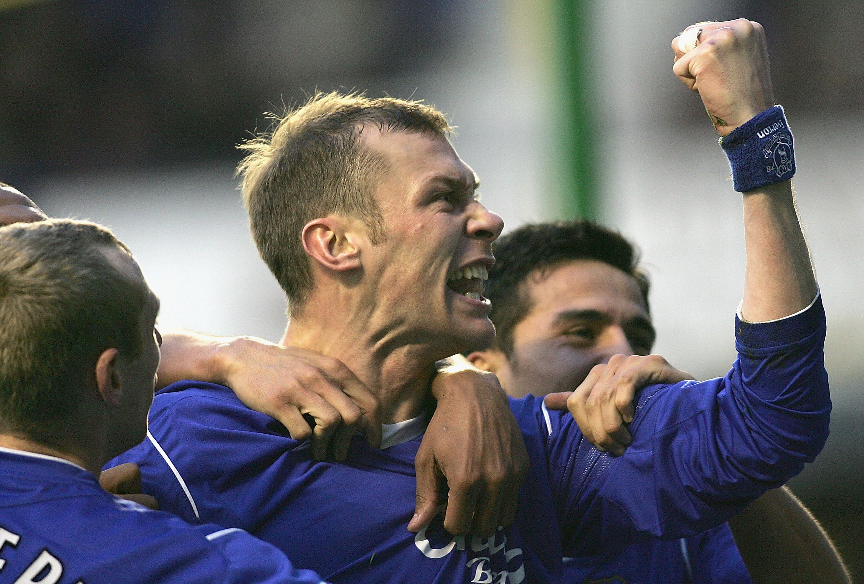 LIVERPOOL, ENGLAND - DECEMBER 4: Duncan Ferguson of Everton celebrates the equaliser during the Barclays Premiership match between Everton and Bolton Wanderers at Goodison Park on December 4, 2004 in Liverpool, England.  (Photo by Michael Steele/Getty Ima