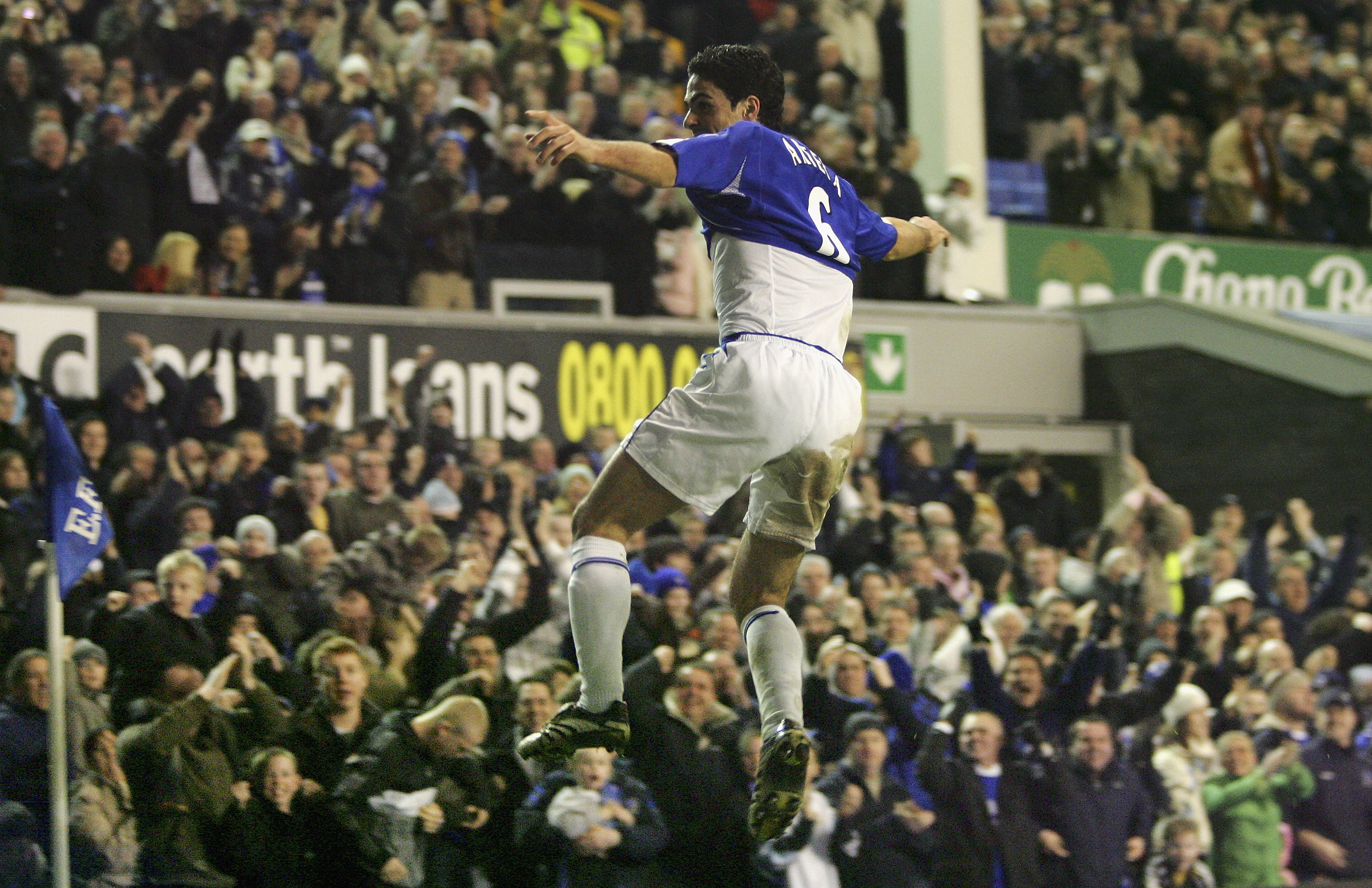 LIVERPOOL, UNITED KINGDOM - FEBRUARY 21:  Mikel Arteta of Everton celebrates scoring his team's first goal during the Barclays Premiership match between Everton and  Tottenham Hotspur at Goodison Park on February 21, 2007 in Liverpool, England.  (Photo by