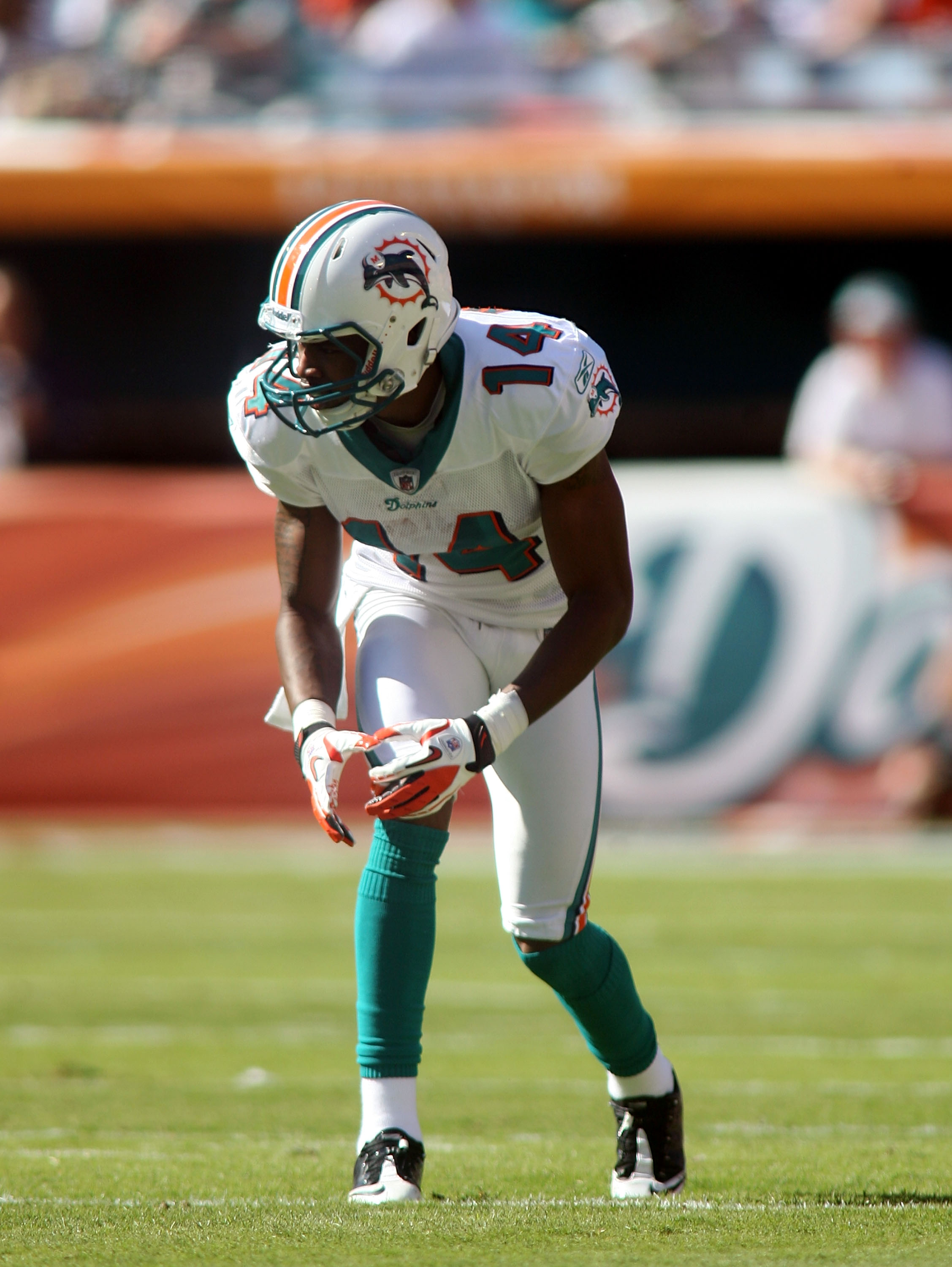 MIAMI, FL - DECEMBER 05: Receiver Marlon Moore #14  of the Miami Dolphins against the Cleveland Browns at Sun Life Stadium on December 5, 2010 in Miami, Florida. Cleveland defeated Miami 13-10.  (Photo by Marc Serota/Getty Images)