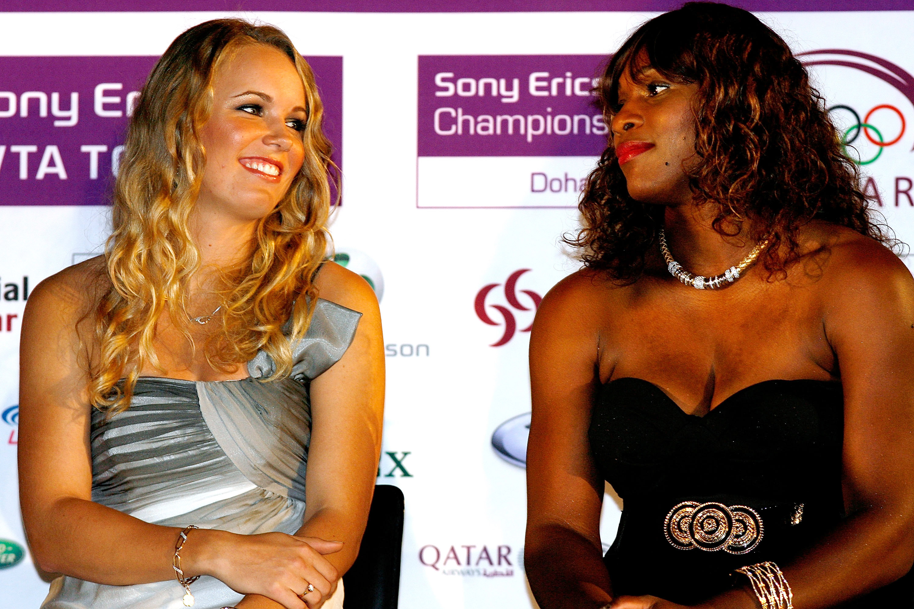 DOHA, QATAR - OCTOBER 25: Caroline Wozniacki of Denmark and Serena Williams of the United States talk during the draw ceremony for the Sony Ericsson WTA Championships at the Museum of Islamic Art on October 25, 2009 in Doha, Qatar. The Championships willl