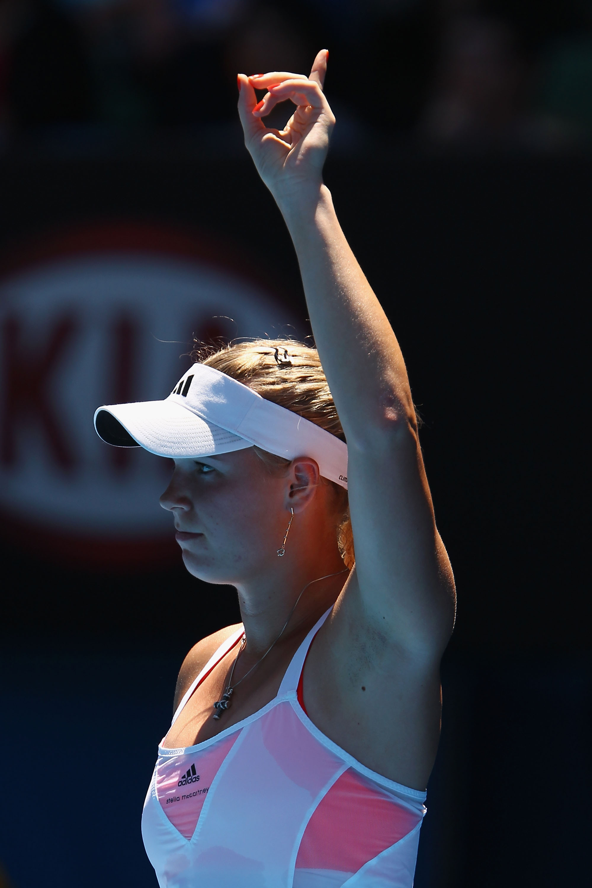 MELBOURNE, AUSTRALIA - JANUARY 27:  Caroline Wozniacki of Denmark challenges a line call in her semifinal match against Na Li of China during day eleven of the 2011 Australian Open at Melbourne Park on January 27, 2011 in Melbourne, Australia.  (Photo by