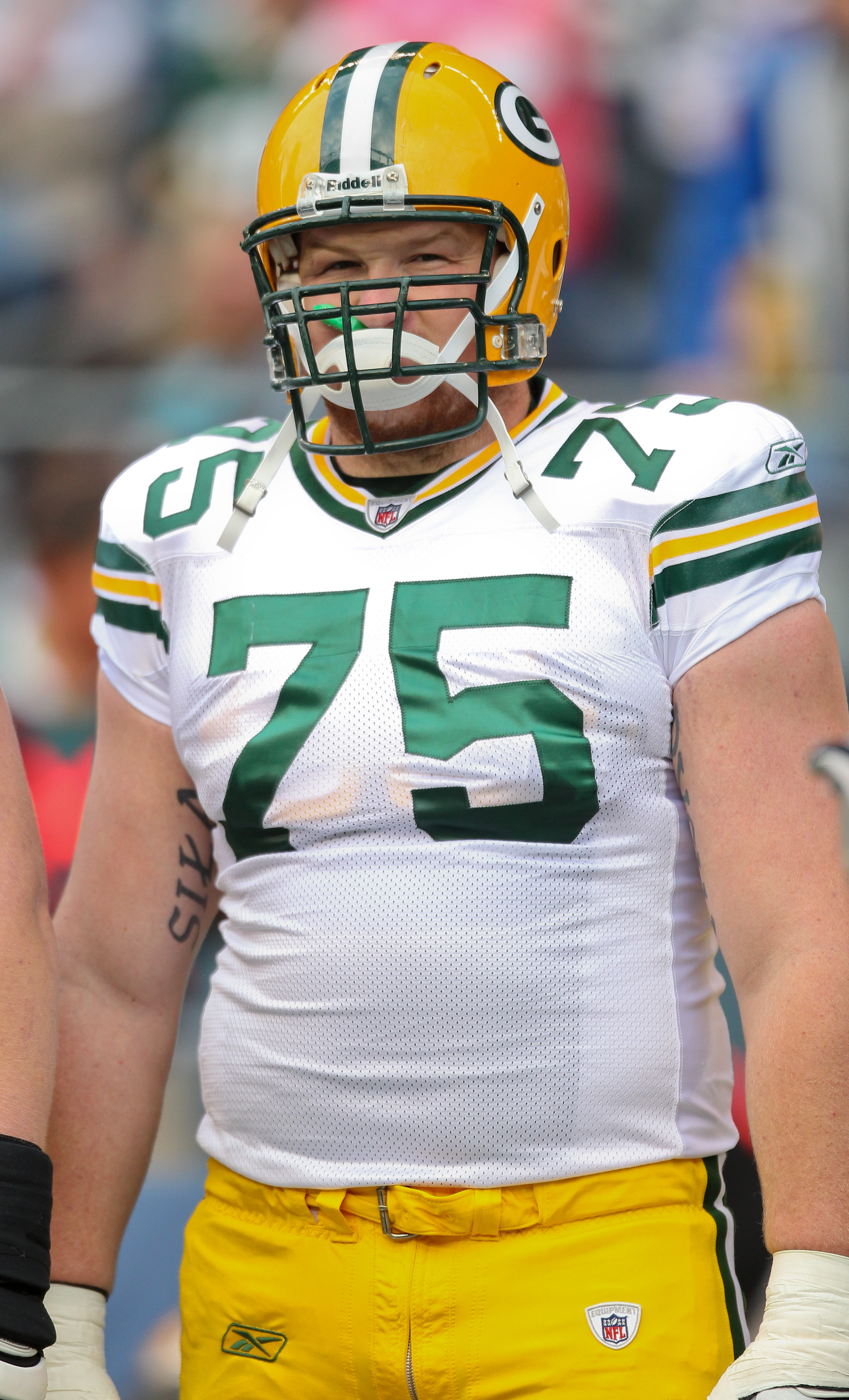 SEATTLE - AUGUST 21:  Guard Bryan Bulaga #75 of the Green Bay Packers looks on prior to the preseason game against the Seattle Seahawks at Qwest Field on August 21, 2010 in Seattle, Washington. (Photo by Otto Greule Jr/Getty Images)