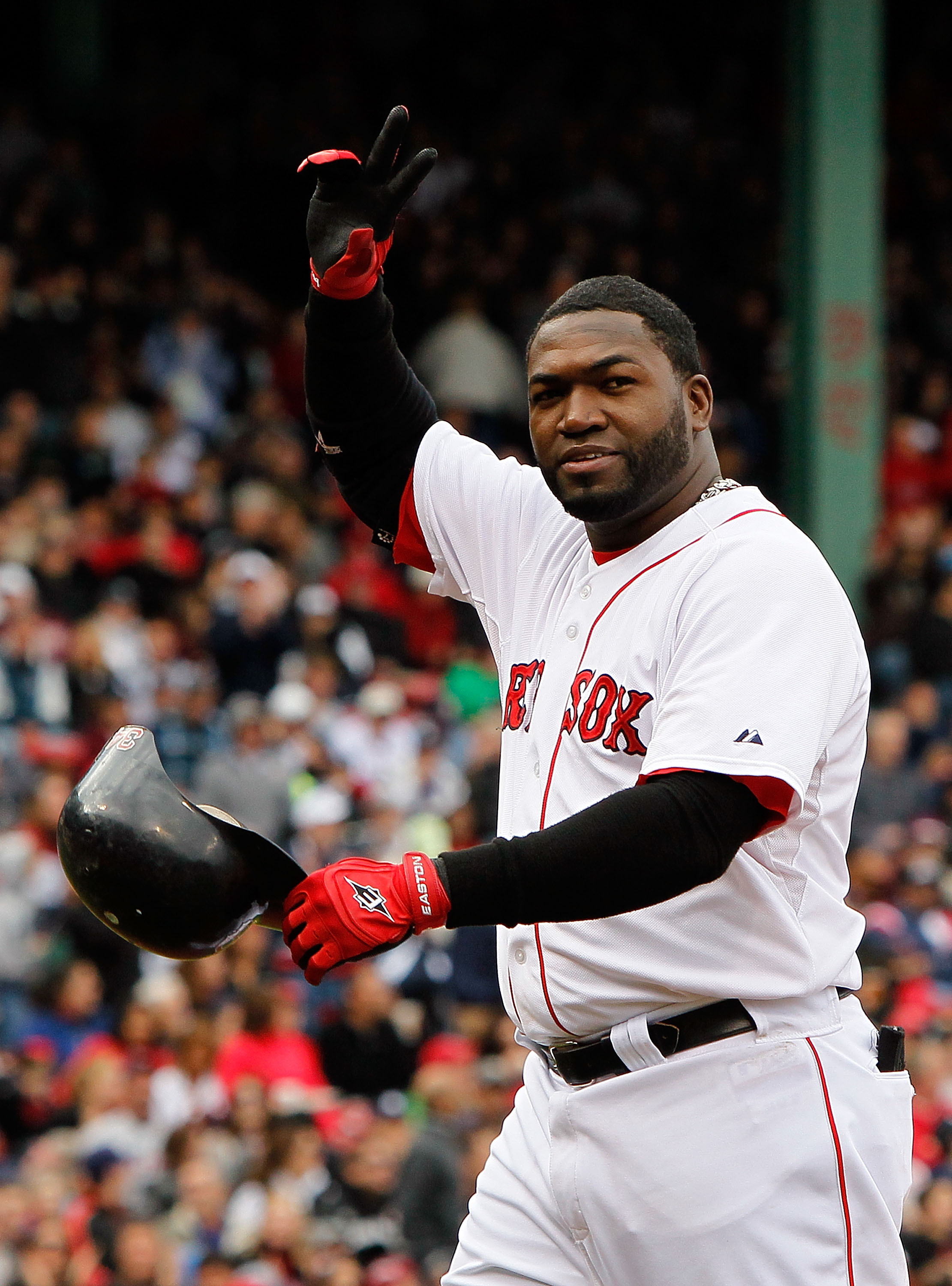 BOSTON - OCTOBER 3: David Ortiz #34 of the Boston Red Sox waves to fans after he was replaced by a pinch runner against the New York Yankees at Fenway Park, October 3, 2010, in Boston, Massachusetts. (Photo by Jim Rogash/Getty Images)