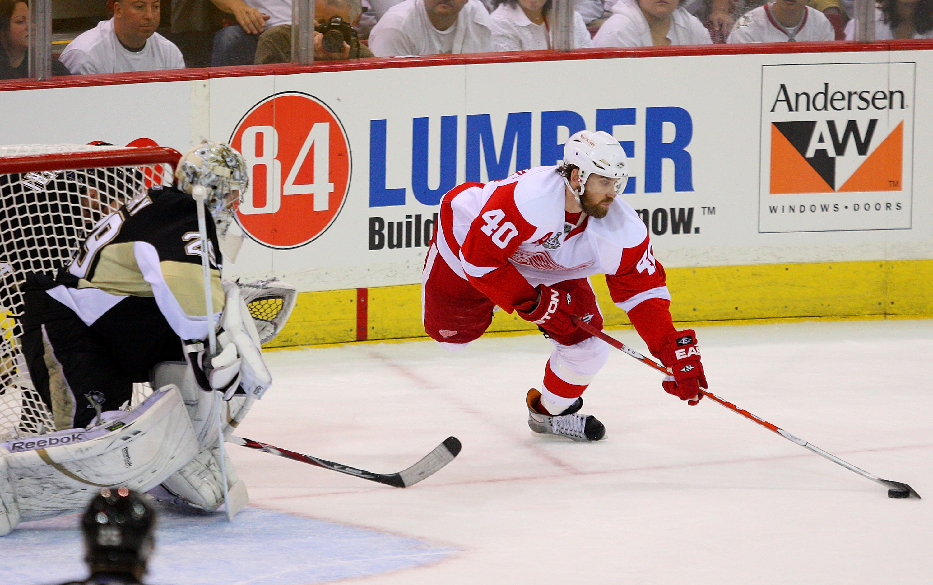 PITTSBURGH - JUNE 02:  Goaltender Marc-Andre Fleury #29 of the Pittsburgh Penguins defends the goal against Nicklas Lidstrom #5 of the Detroit Red Wings during Game Three of the 2009 NHL Stanley Cup Finals on June 2, 2009 at Mellon Arena in Pittsburgh, Pe