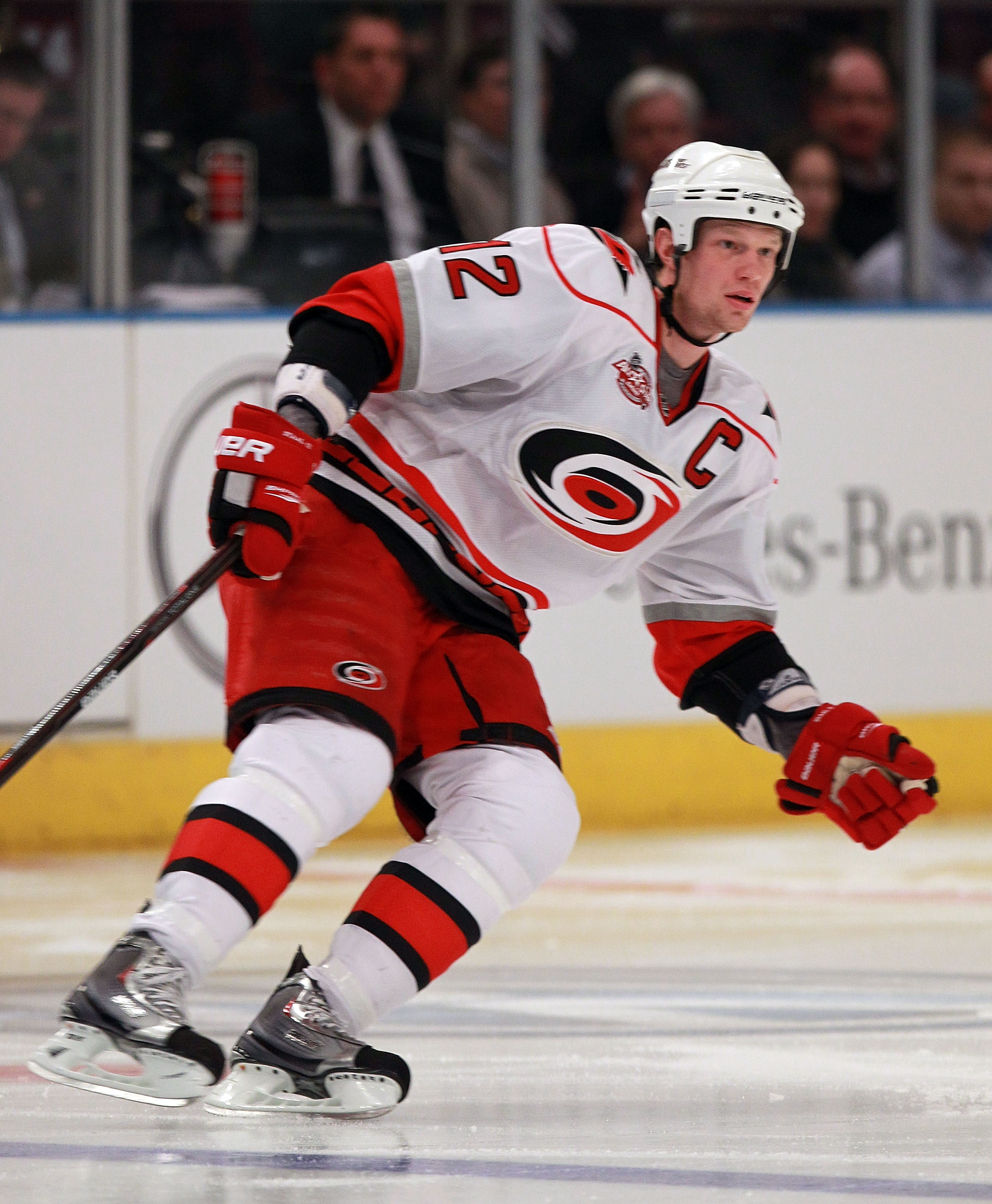 NEW YORK, NY - JANUARY 05:  Eric Staal #12 of the Carolina Hurricanes skates against the New York Rangers at Madison Square Garden on January 5, 2011 in New York City. The Rangers defeated the Hurricanes 2-1 in overtime.  (Photo by Bruce Bennett/Getty Ima