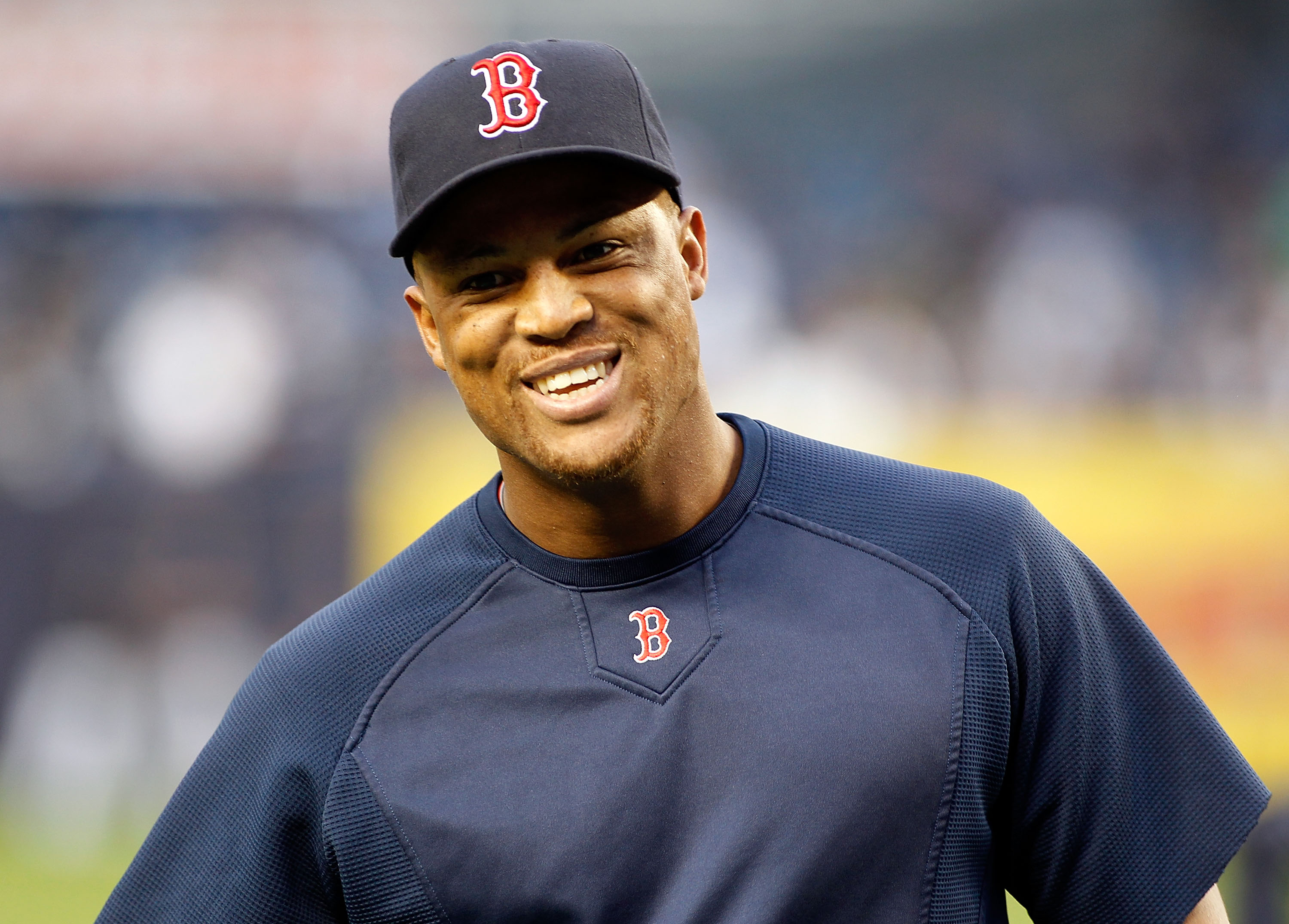 NEW YORK - SEPTEMBER 26:  Adrian Beltre #29 of the Boston Red Sox looks on during warm-ups prior to the start of the game against the New York Yankees on September 26, 2010 at Yankee Stadium in the Bronx borough of New York City.  (Photo by Mike Stobe/Get