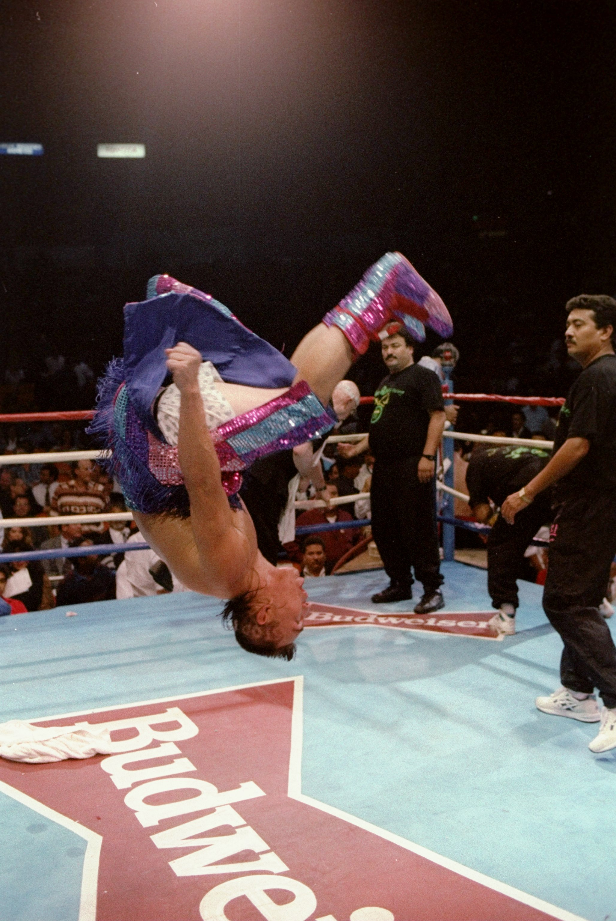 18 May 1993:  Jorge Paez does a backflip after a bout against Jesse Torres. Mandatory Credit: Holly Stein  /Allsport
