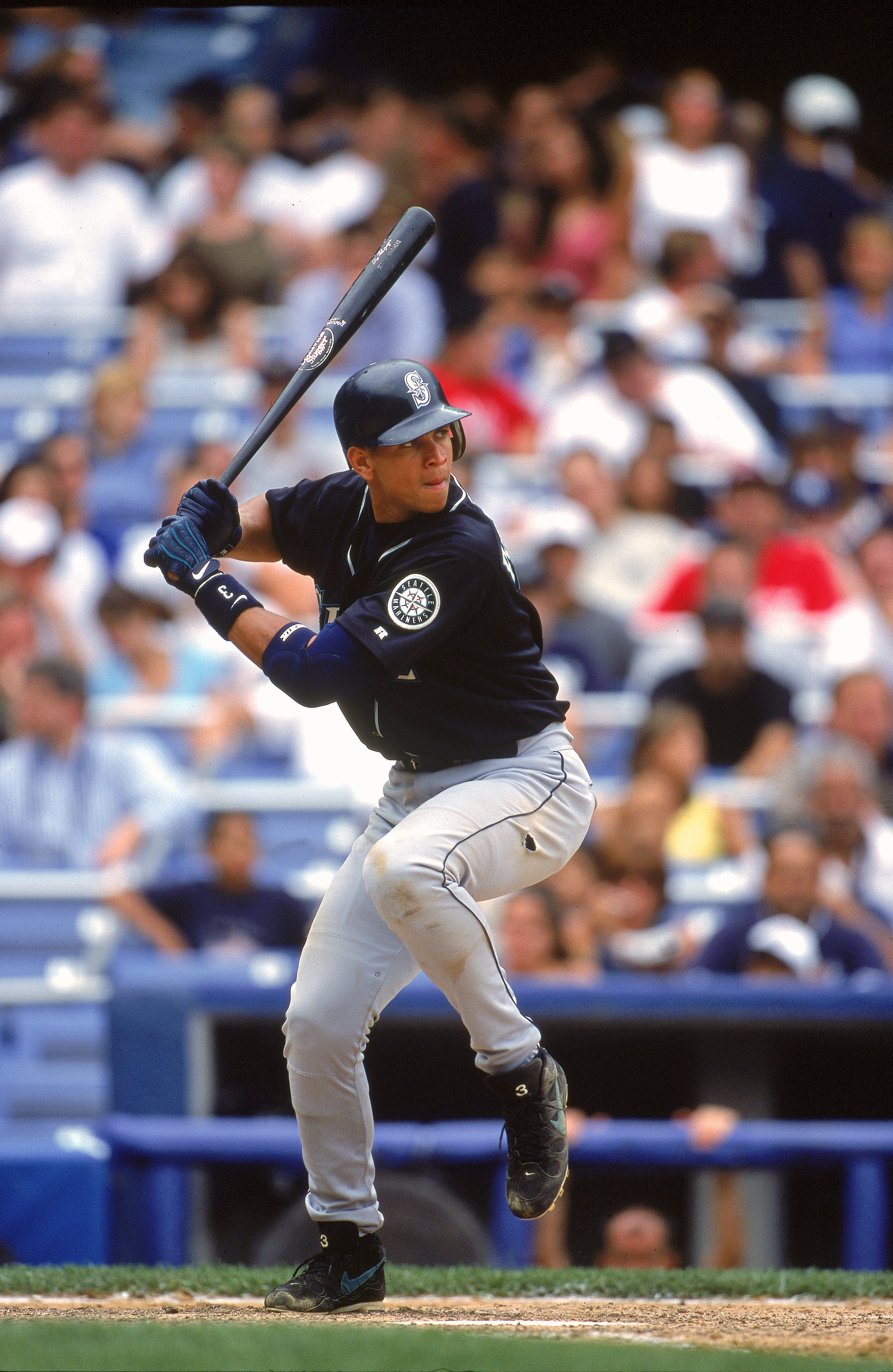 6 Aug 2000: Alex Rodriguez #3 of the Seattle Mariners in action at batduring the game against the  New York Yankees at Yankee Stadium in the Bronx, New York. The Mariners defeated the Yankees 11-1.Mandatory Credit: Jamie Squire  /Allsport