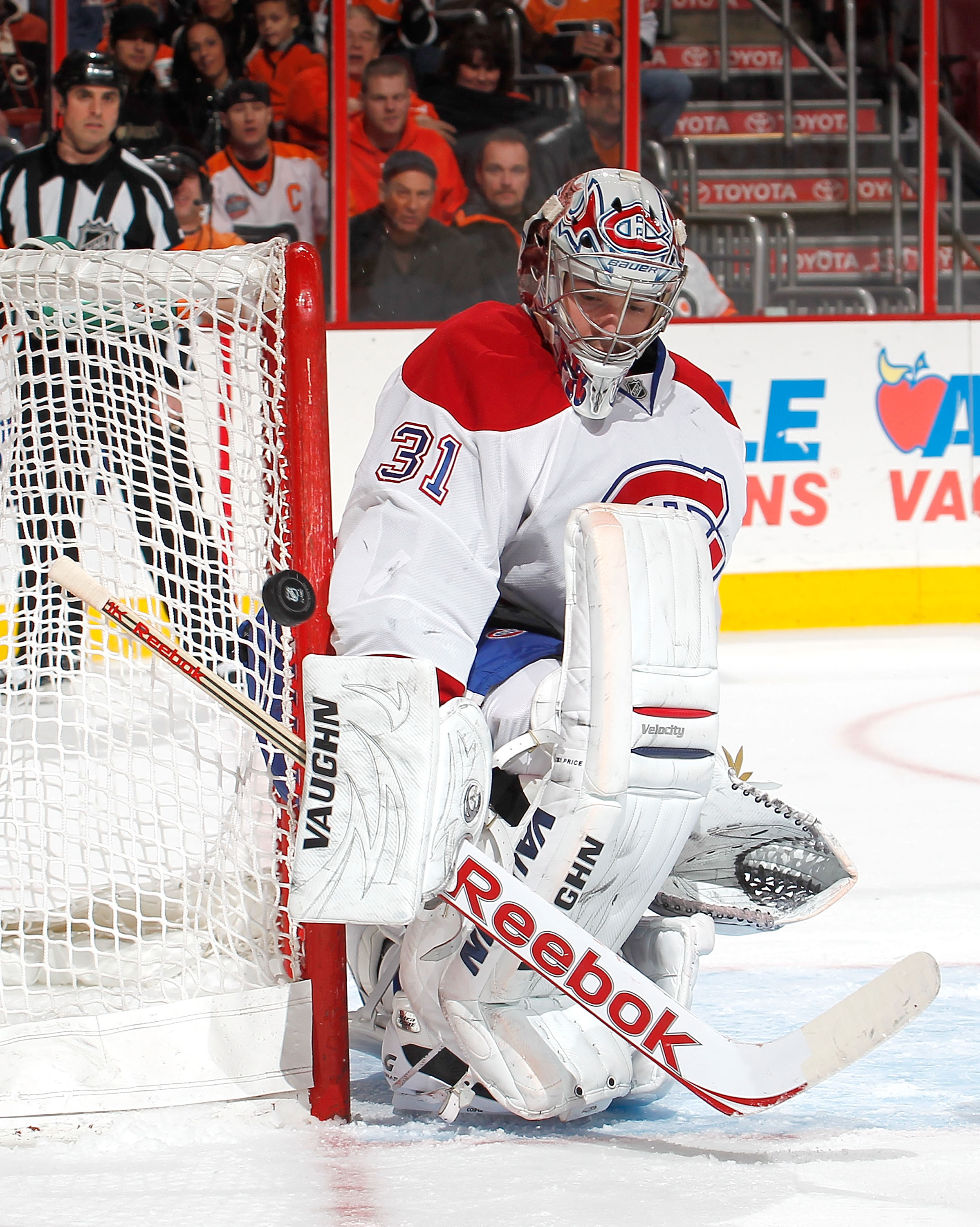 PHILADELPHIA, PA - JANUARY 25:  Goalie Carey Price #31 of the Montreal Canadiens makes a save in an NHL hockey game against the Philadelphia Flyers at the Wells Fargo Center on January 25, 2011 in Philadelphia, Pennsylvania.  (Photo by Paul Bereswill/Gett