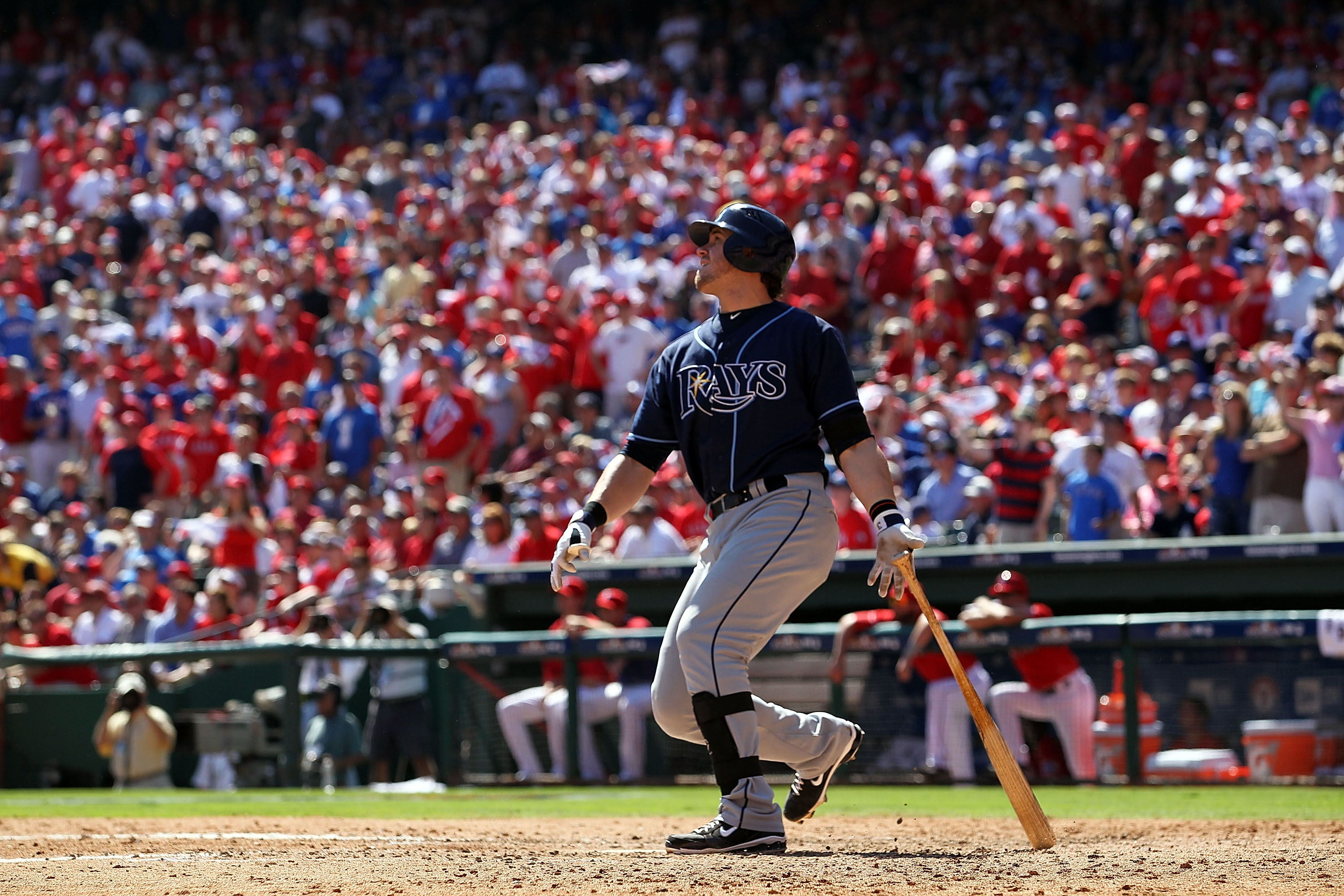 ARLINGTON, TX - OCTOBER 10:  Evan Longoria #3 of the Tampa Bay Rays hits a two run homerun against the Texas Rangers in the 5th inning during game 4 of the ALDS at Rangers Ballpark in Arlington on October 10, 2010 in Arlington, Texas.  (Photo by Ronald Ma
