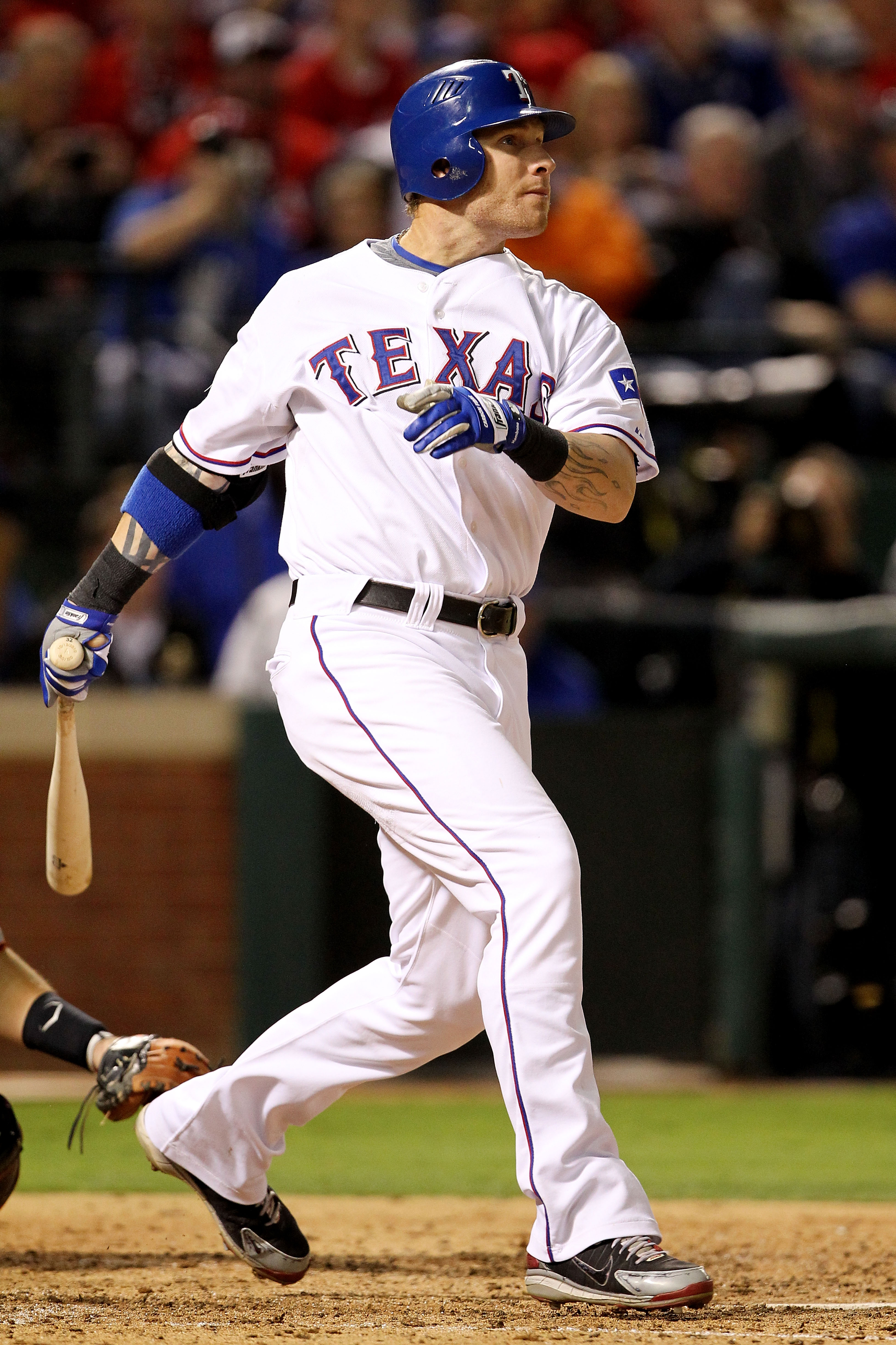 ARLINGTON, TX - OCTOBER 30:  Josh Hamilton #32 of the Texas Rangers hits a solo home run in the bottom of the fifht inning against the San Francisco Giants in Game Three of the 2010 MLB World Series at Rangers Ballpark in Arlington on October 30, 2010 in