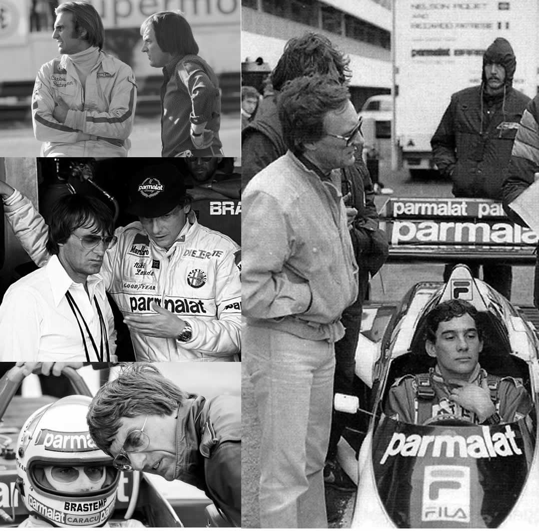 Clockwise from top left, Bernie with Carlos Reutemann, Ayrton Senna, Nelson Piquet, Nikki Lauda
