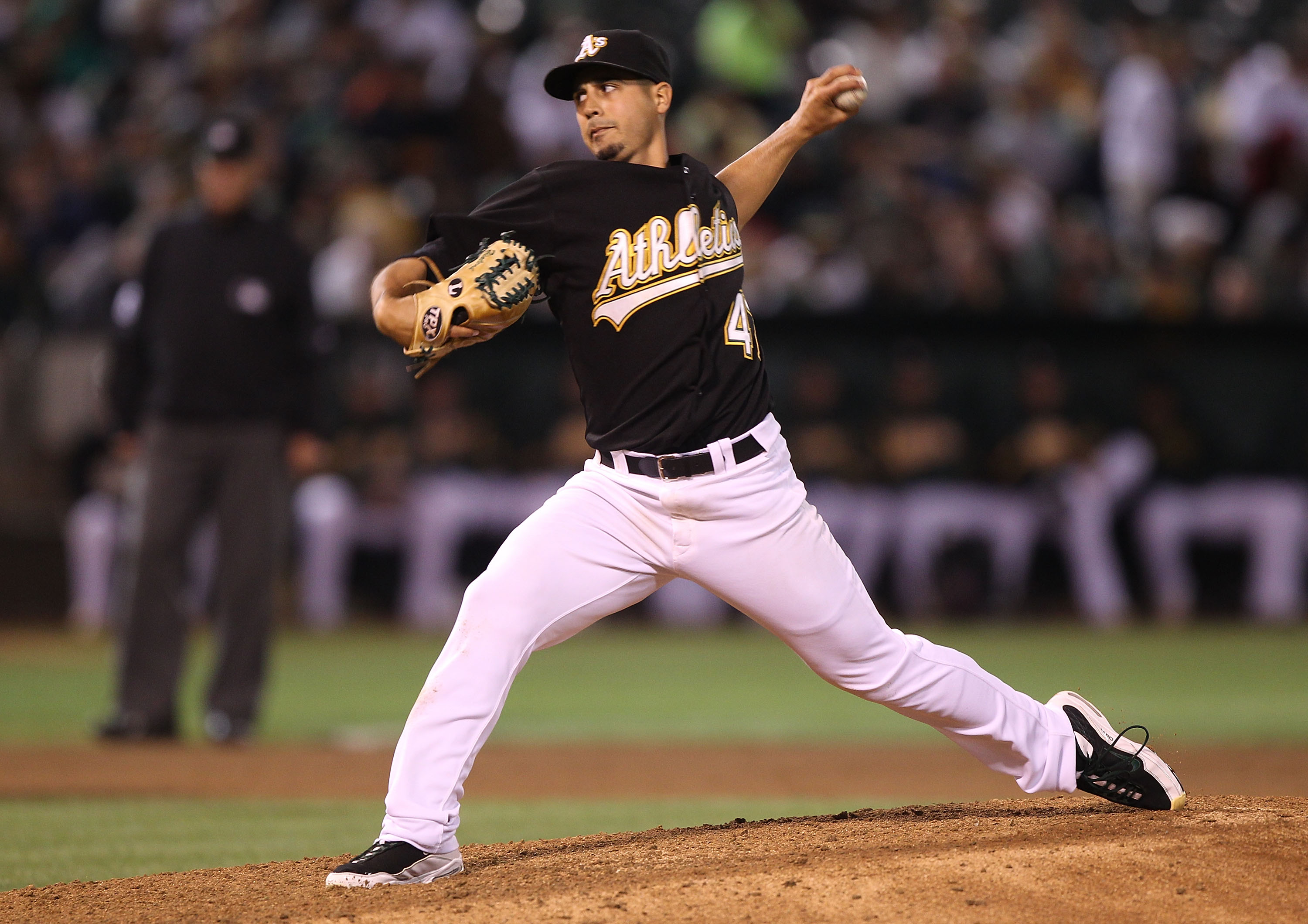OAKLAND, CA - SEPTEMBER 03:  Gio Gonzalez #47 of the Oakland Athletics pitches against the Los Angeles Angels of Anaheim during a Major League Baseball game at the Oakland-Alameda County Coliseum on September 3, 2010 in Oakland, California.  (Photo by Jed