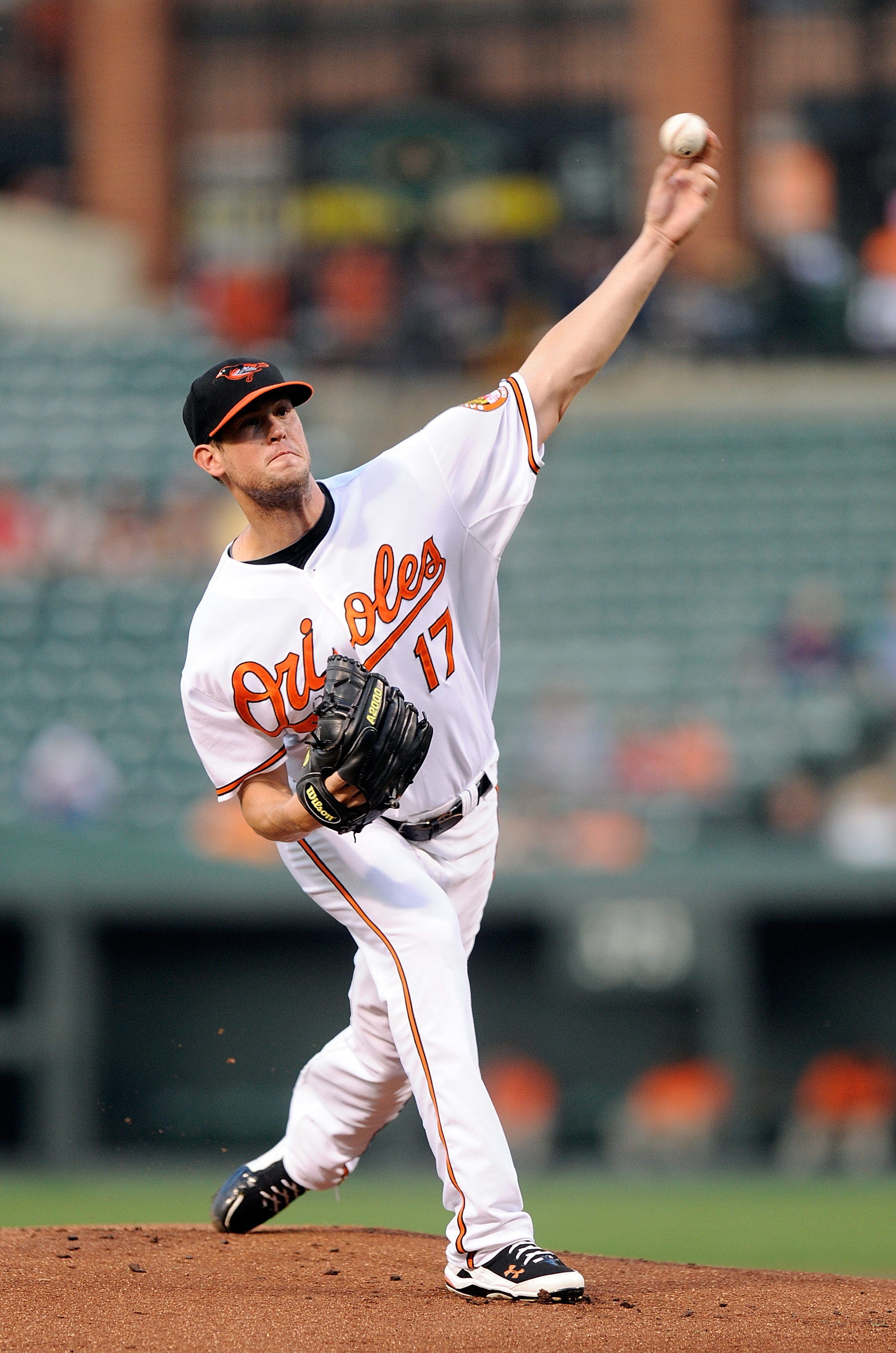 BALTIMORE - AUGUST 31:  Brian Matusz #17 of the Baltimore Orioles pitches against the Boston Red Sox at Camden Yards on August 31, 2010 in Baltimore, Maryland.  (Photo by Greg Fiume/Getty Images)