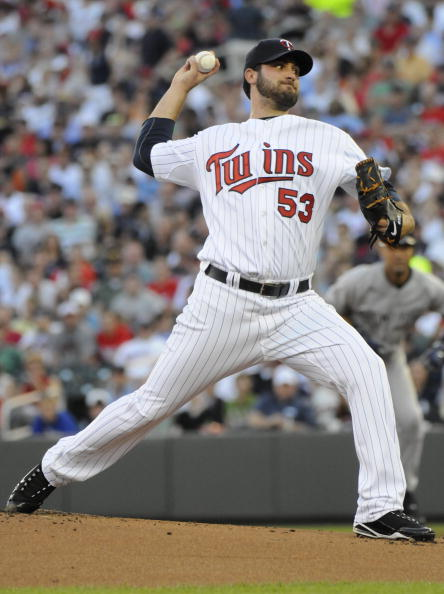 MINNEAPOLIS, MN - MAY 27: Nick Blackburn #53 of the Minnesota Twins pitches in the first inning against the New York Yankees during the game on May 27, 2010 at Target Field in Minneapolis, Minnesota. The Twins defeated the Yankees 8-2. (Photo by Hannah Fo