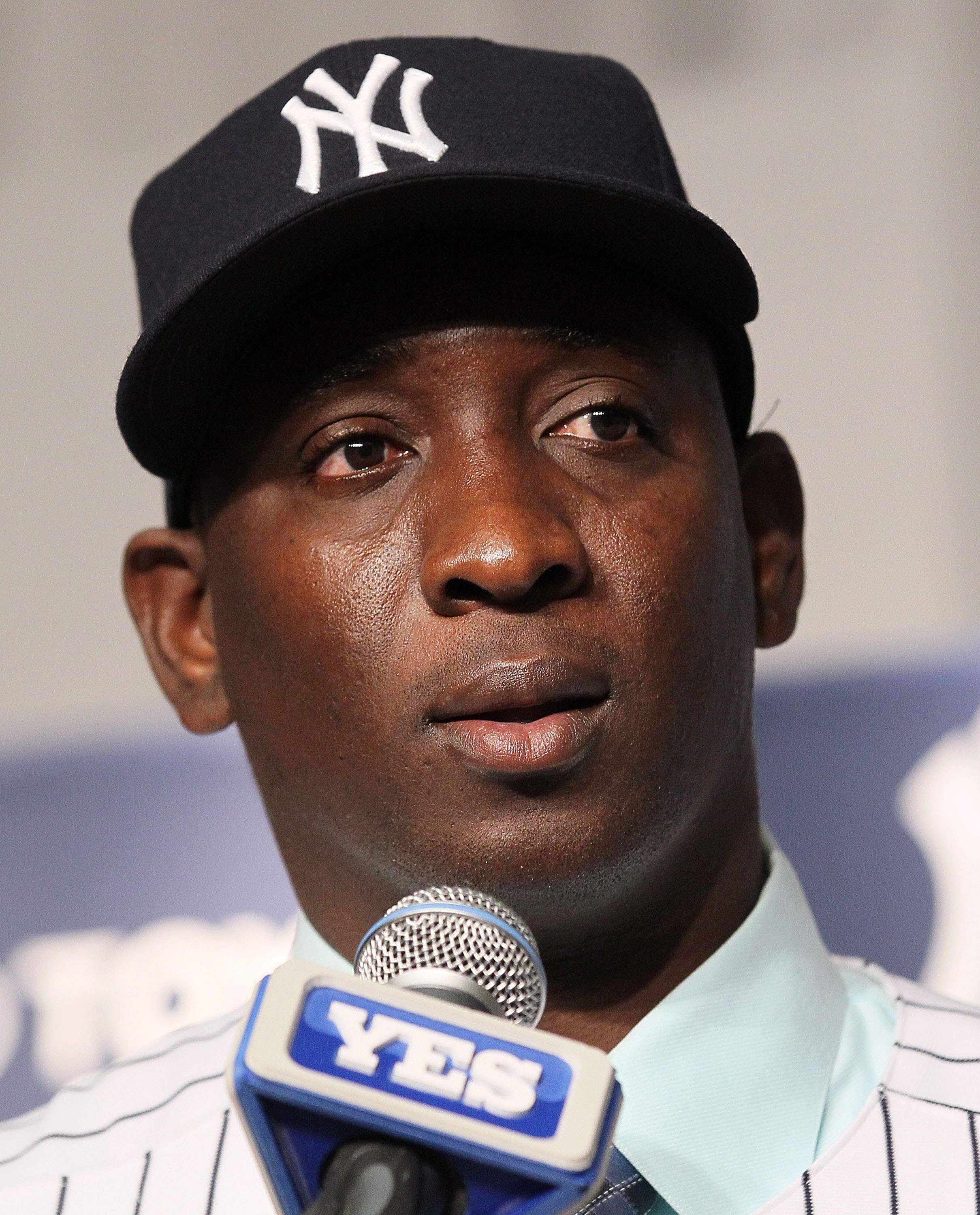 NEW YORK, NY - JANUARY 19: Rafael Soriano of the New York Yankees speaks during his introduction press conference on January 19, 2011 at Yankee Stadium in the Bronx borough of New York City. The Yankees signed Soriano to a three year contract. (Photo by J
