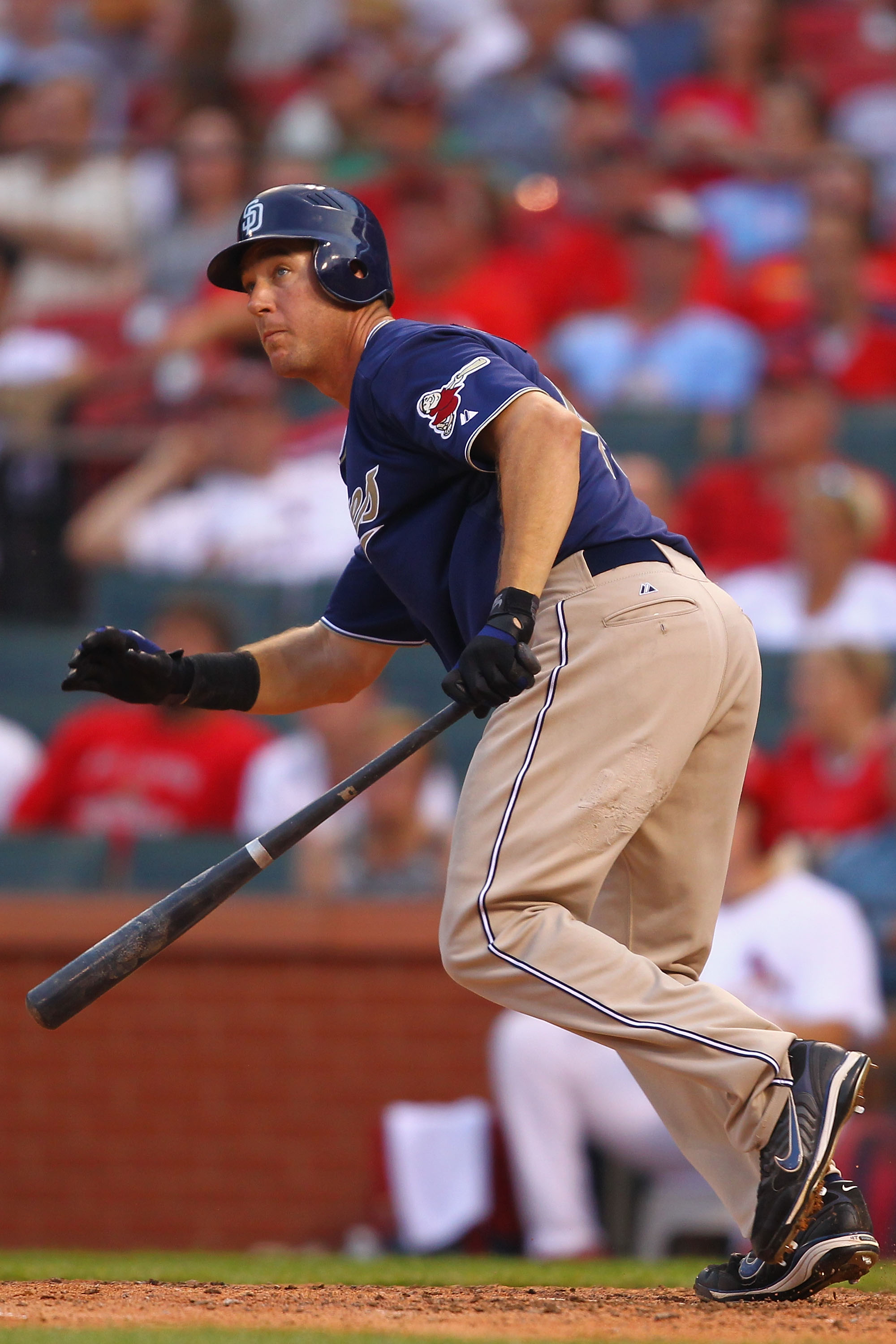 ST. LOUIS - SEPTEMBER 18: Ryan Ludwick #47 of the San Diego Padres watches his game-winning three-run home run leave the park against the St. Louis Cardinals at Busch Stadium on September 18, 2010 in St. Louis, Missouri.  The Padres beat the Cardinals 8-4