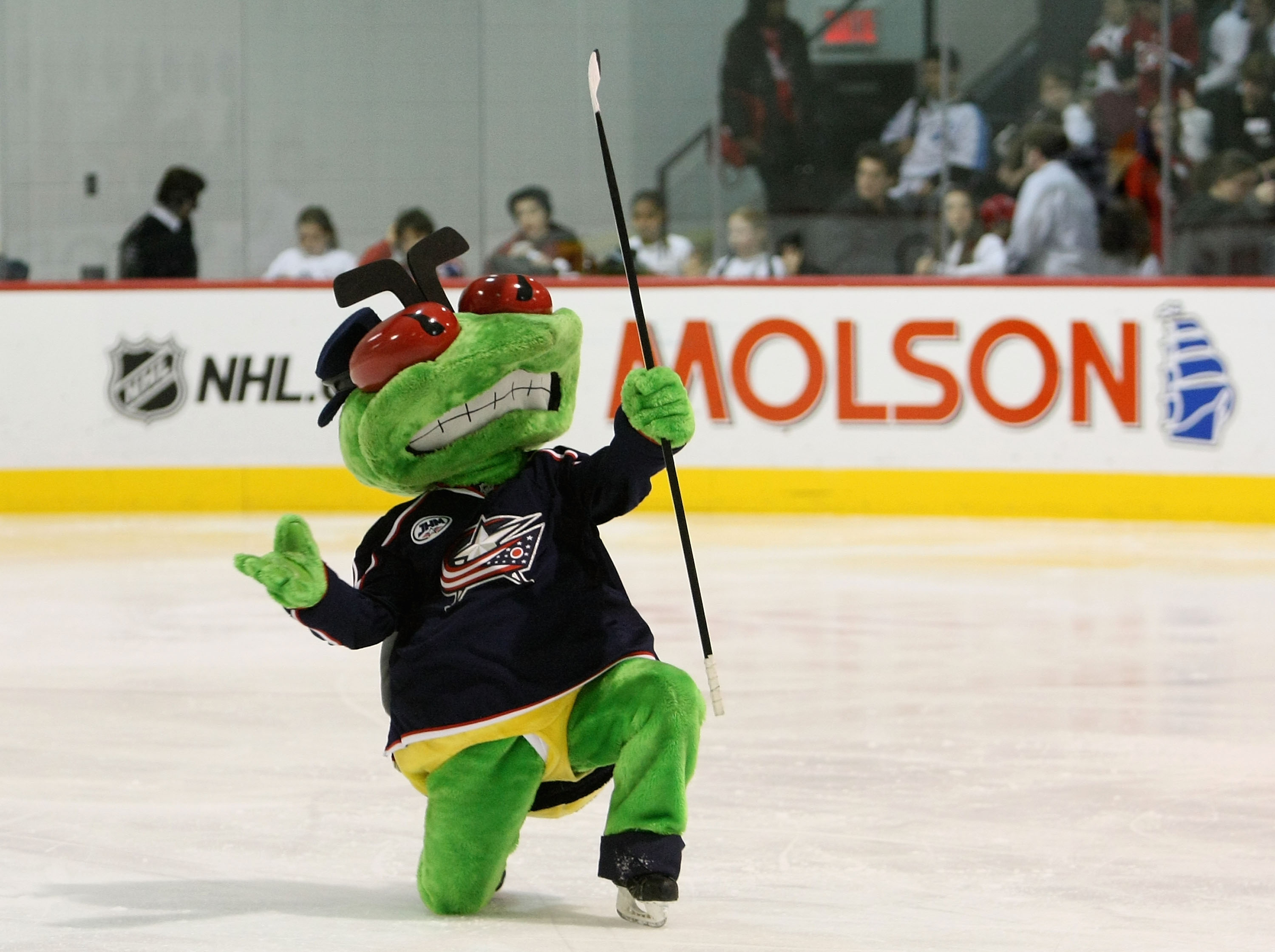 MONTREAL - JANUARY 25:  Columbus Blue Jackets mascot, Stinger performs on the ice during the NHL All Star Mascot Breakfast at the Bell Centre Sports Complex on January 25, 2009 in Montreal, Canada.  (Photo by Nick Laham/Getty Images)