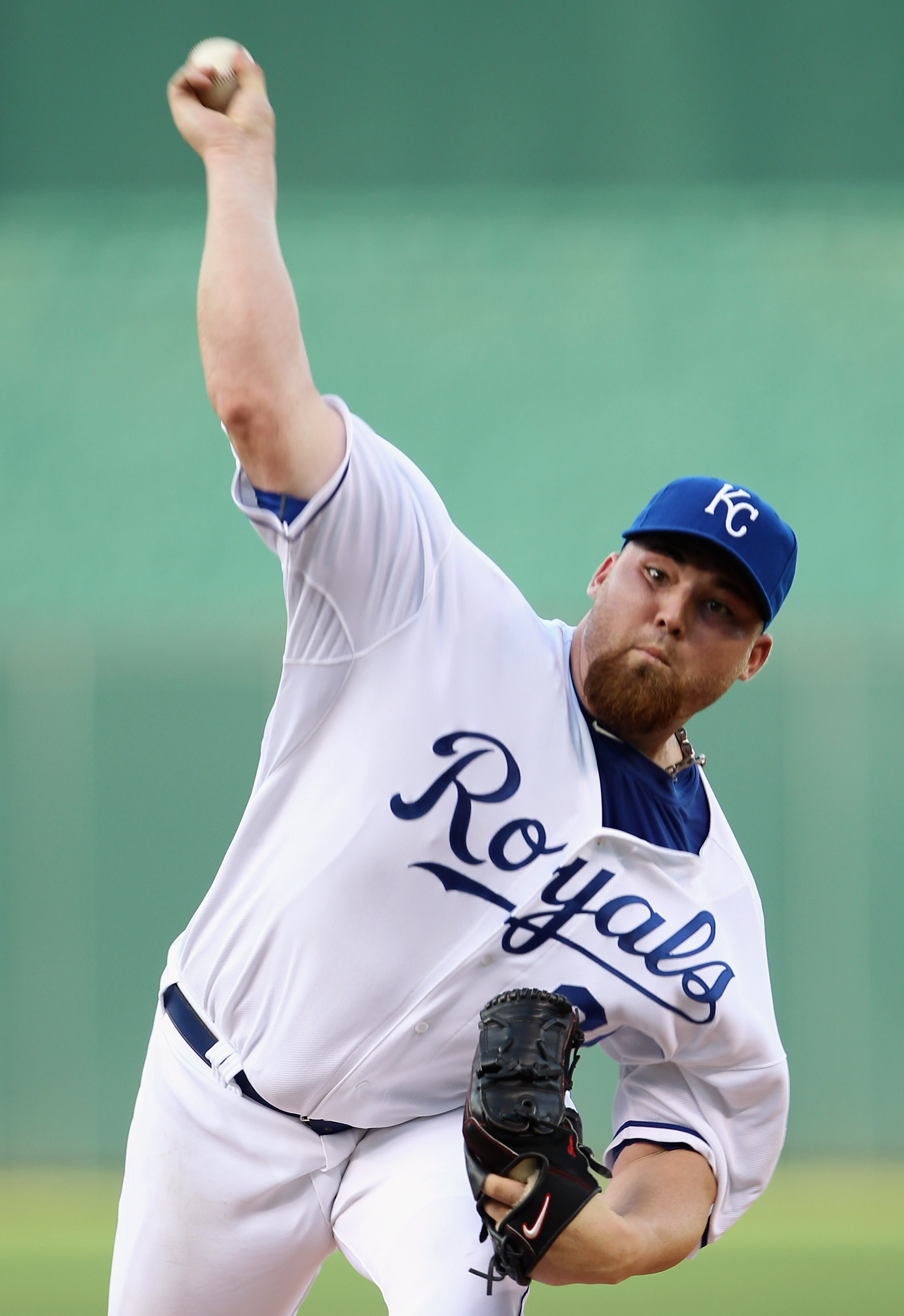 KANSAS CITY, MO - JULY 30:  Starting pitcher Sean O'Sullivan #37 of the Kansas City Royals warms-up just prior to the start of the game against the Baltimore Orioles on July 30, 2010 at Kauffman Stadium in Kansas City, Missouri.  (Photo by Jamie Squire/Ge