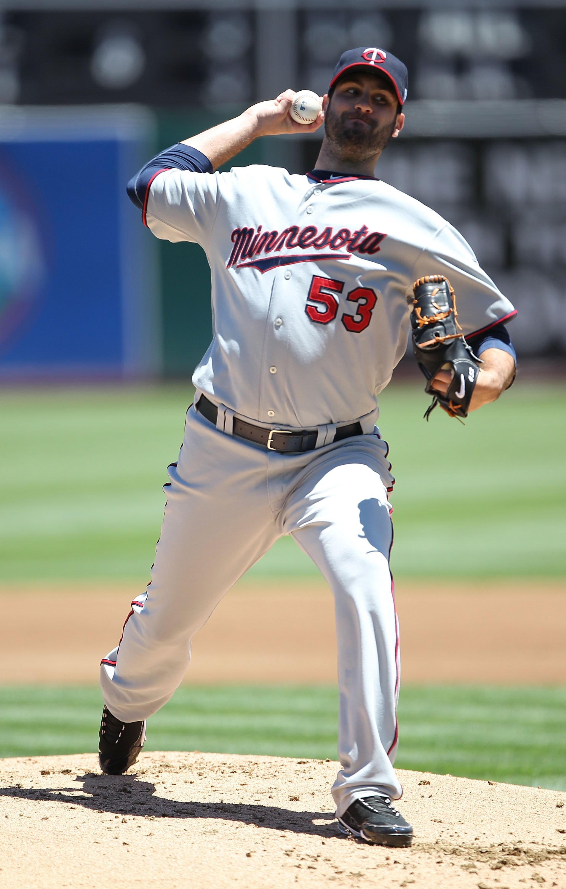 OAKLAND, CA - JUNE 06:  Nick Blackburn #53 of the Minnesota Twins pitches against the Oakland Athletics during an MLB game at the Oakland-Alameda County Coliseum on June 6, 2010 in Oakland, California.  (Photo by Jed Jacobsohn/Getty Images)