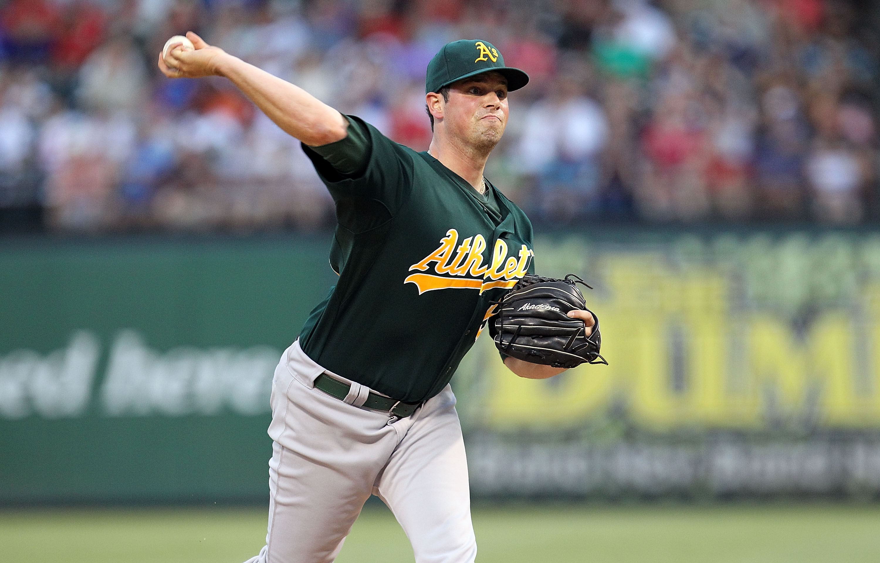 ARLINGTON, TX - JULY 29:  Vin Mazzaro #54 of the Oakland Athletics throws against the Texas Rangers on July 29, 2010 at Rangers Ballpark in Arlington, Texas.  (Photo by Ronald Martinez/Getty Images)