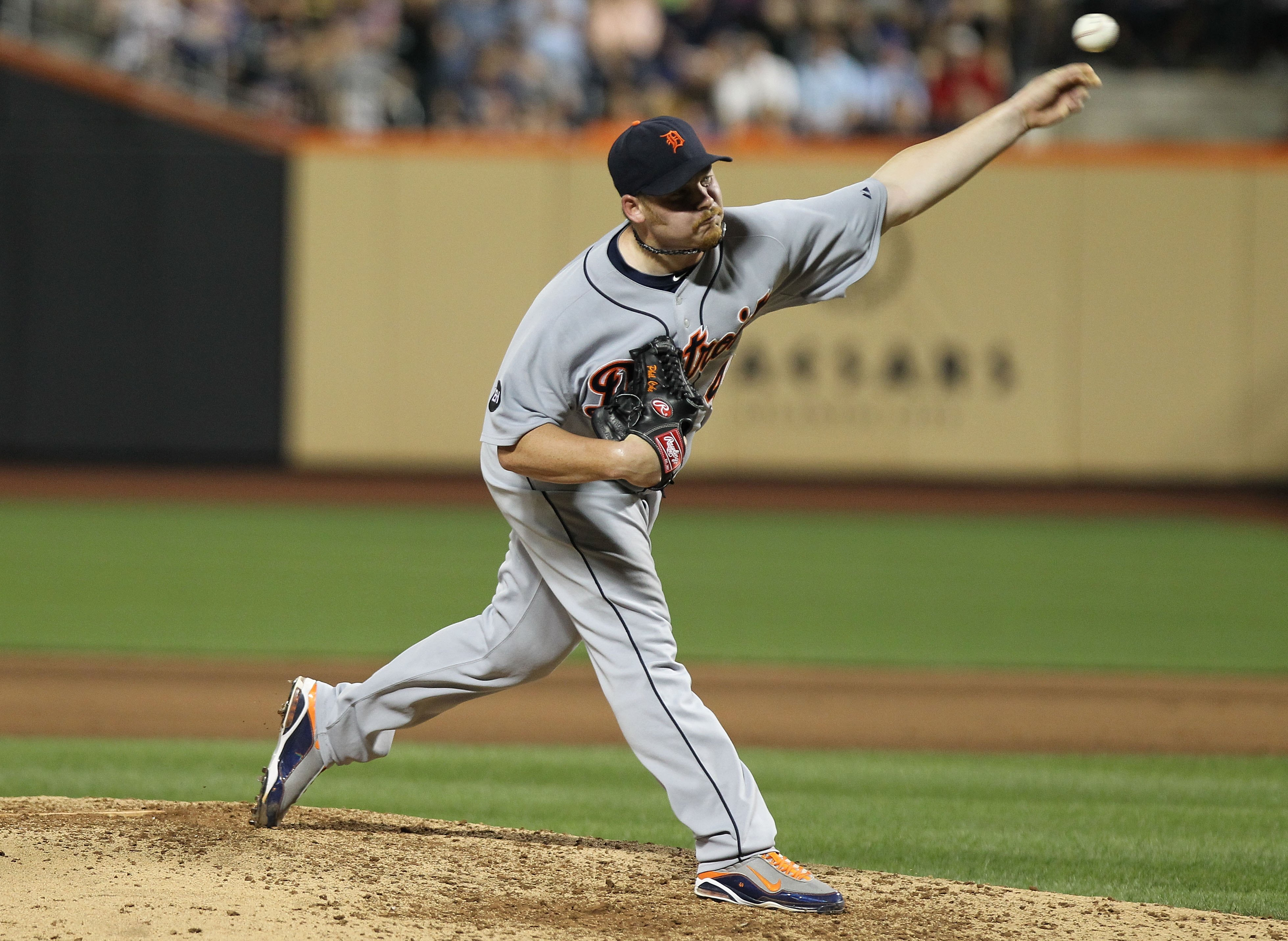 NEW YORK - JUNE 23: Phil Coke of the Detroit Tigers pitches against the New York Mets at Citi Field on June 23, 2010 in the Flushing neighborhood of the Queens borough of New York City.  (Photo by Nick Laham/Getty Images)