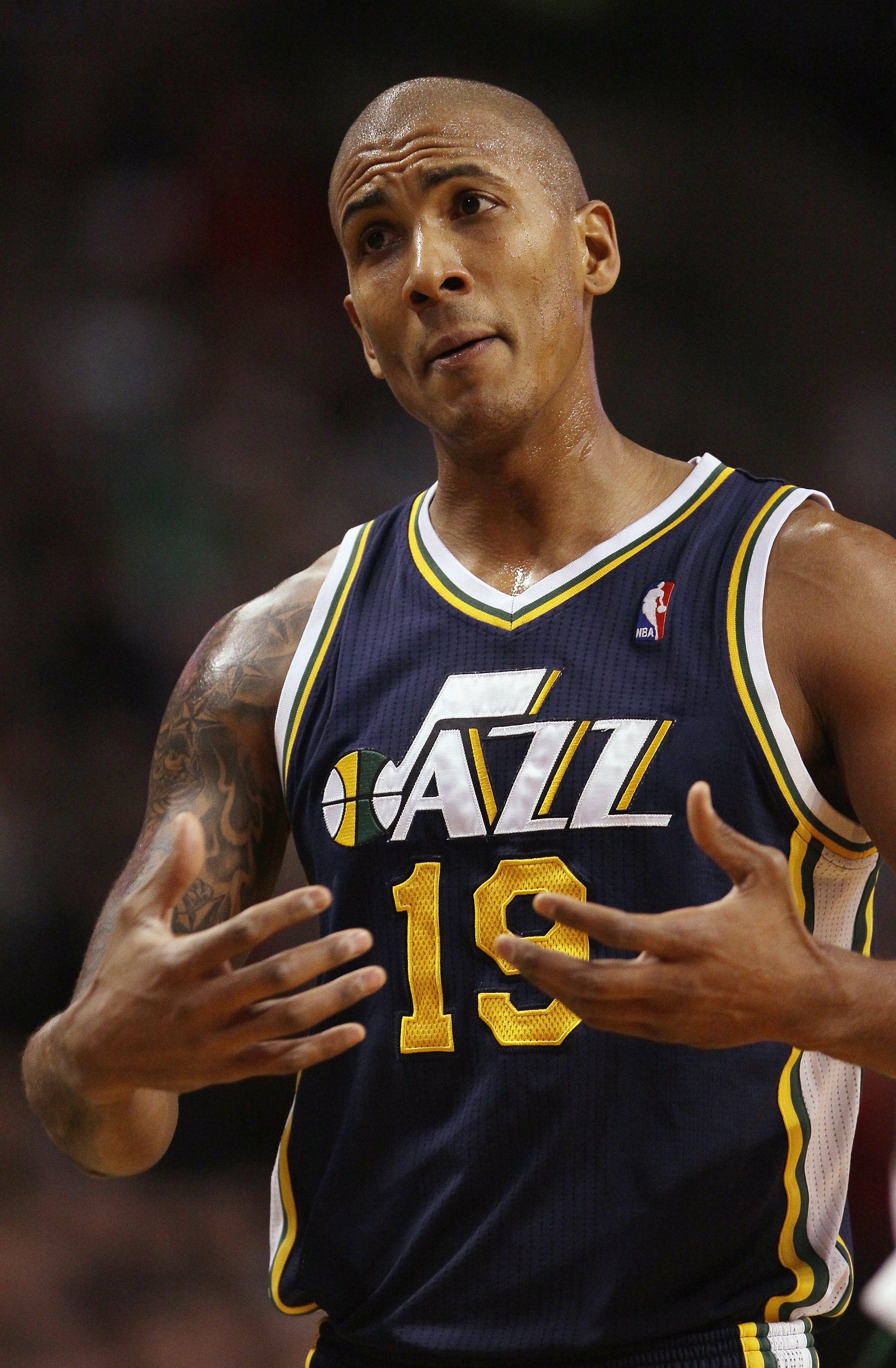 BOSTON, MA - JANUARY 21:  Raja Bell #19 of the Utah Jazz reacts after he is called for a foul in the first quarter against the Boston Celtics on January 21, 2011 at the TD Garden in Boston, Massachusetts.  NOTE TO USER: User expressly acknowledges and agr