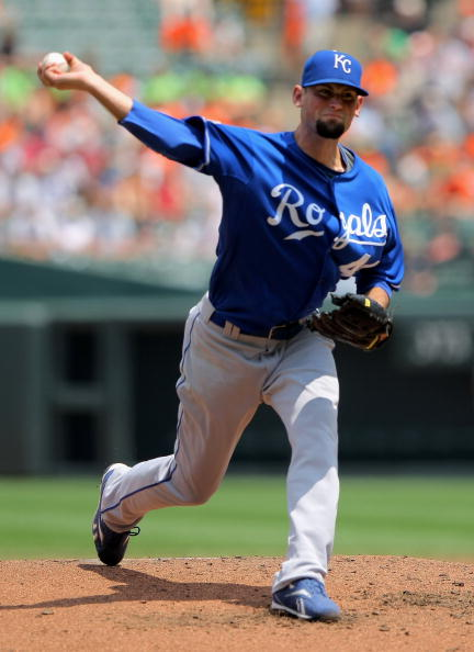 BALTIMORE - JULY 30:  Starting pitcher Luke Hochevar #44 of the Kansas City Royals delivers against the Baltimore Orioles during MLB action at Oriole Park at Camden Yards on July 30, 2009 in Baltimore, Maryland. Hochevar collected the loss as the Orioles