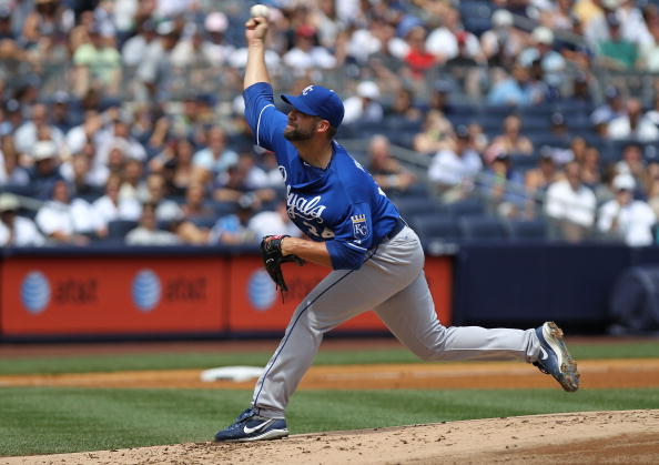 NEW YORK - JULY 24: Kyle Davies of the Kansas City Royals pitches against the New York Yankees at Yankee Stadium on July 24, 2010 in the Bronx borough of New York City.  (Photo by Nick Laham/Getty Images)