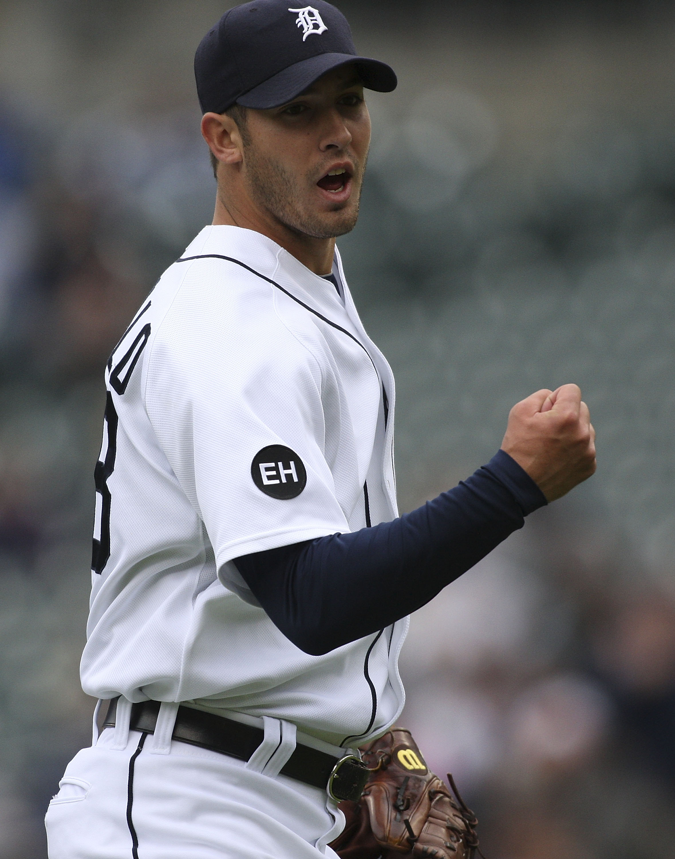 DETROIT - MAY 12:  Rick Porcello #48 of the Detroit Tigers reacts after the final out in the sixth inning against the New York Yankees during the game on May 12, 2010 at Comerica Park in Detroit, Michigan.  (Photo by Leon Halip/Getty Images)
